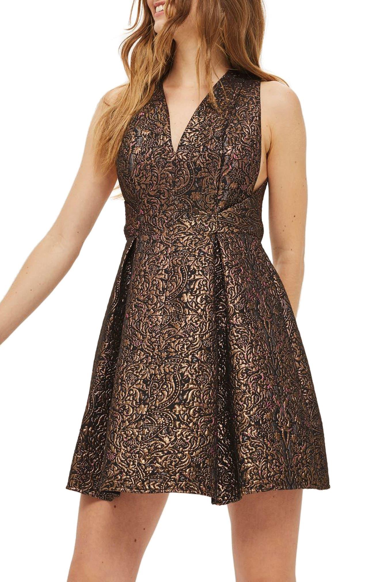 Opulent Jacquard Skater Dress,                         Main,                         color, Copper Multi