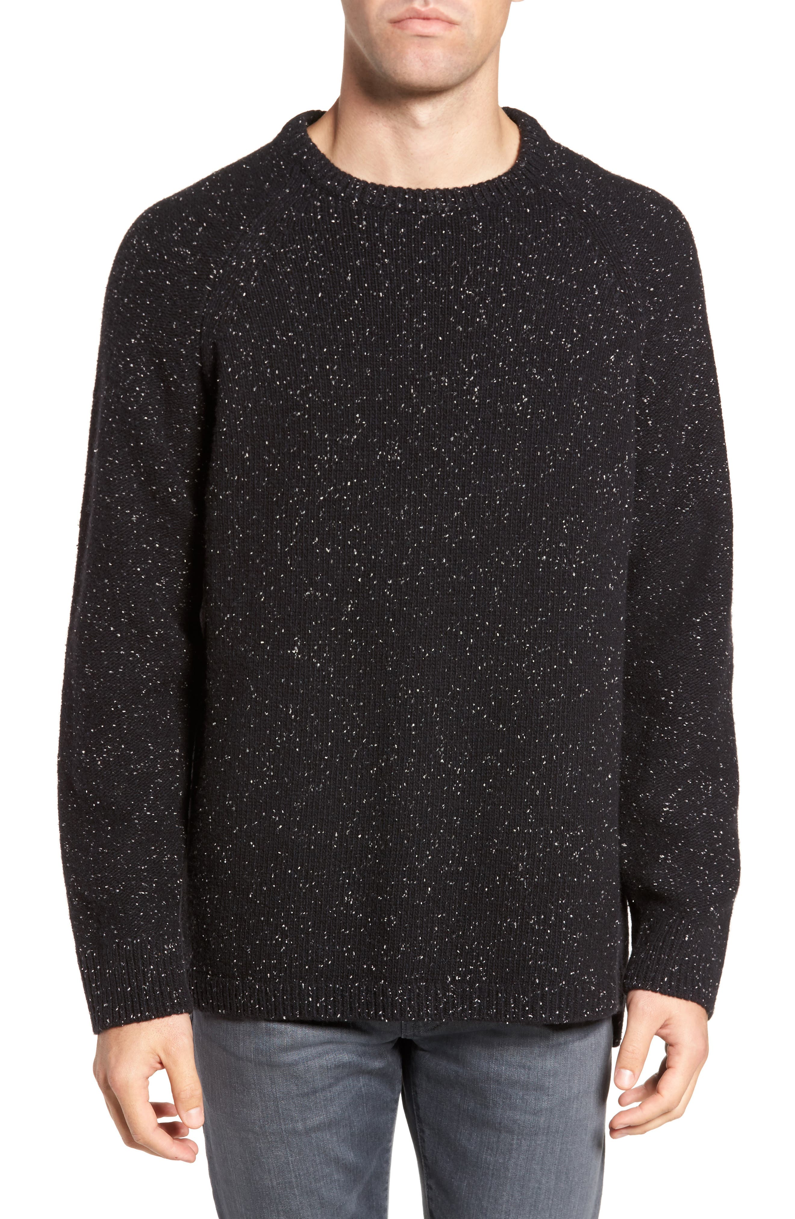 Donegal Lambswool Blend Sweater,                         Main,                         color, Black