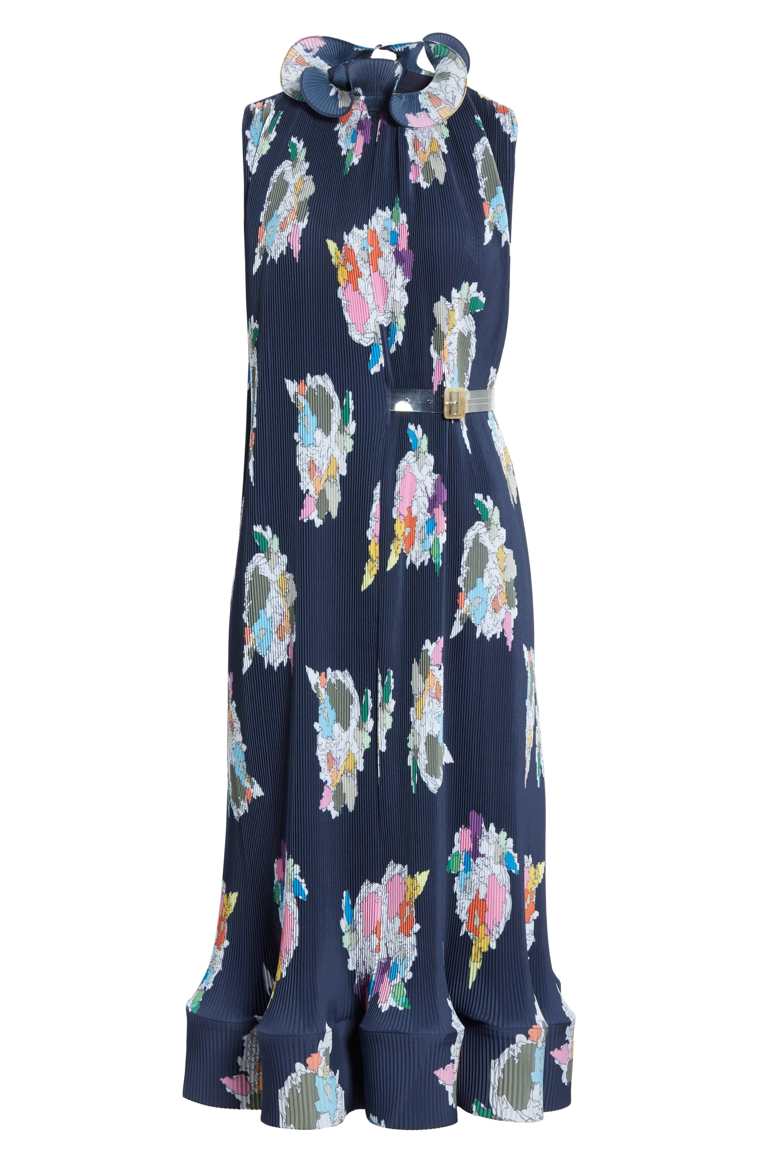 Asymmetrical Belted Floral Dress,                             Alternate thumbnail 6, color,                             Navy