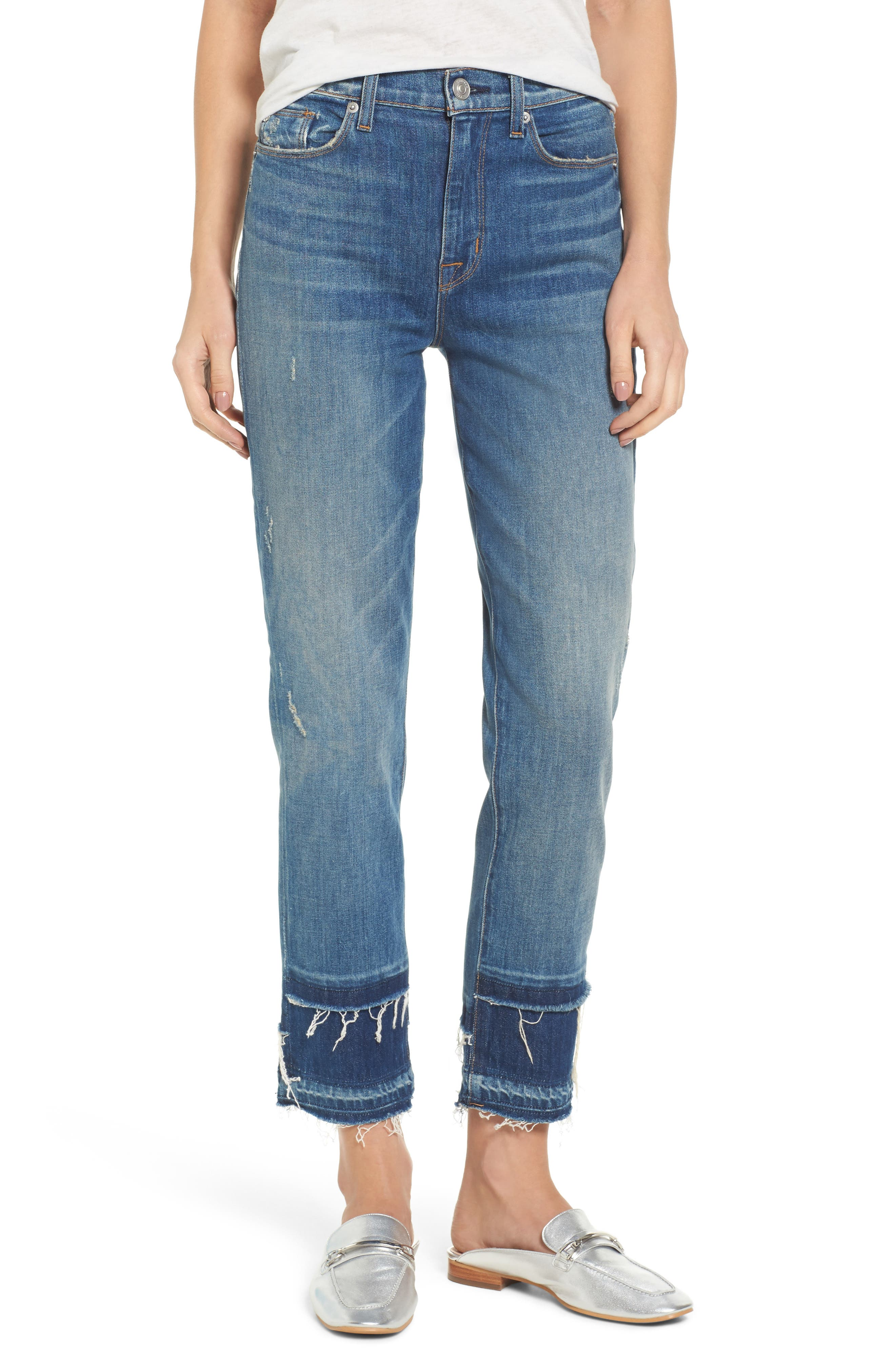 Zoeey High Waist Crop Straight Leg Jeans,                         Main,                         color, Social Grace