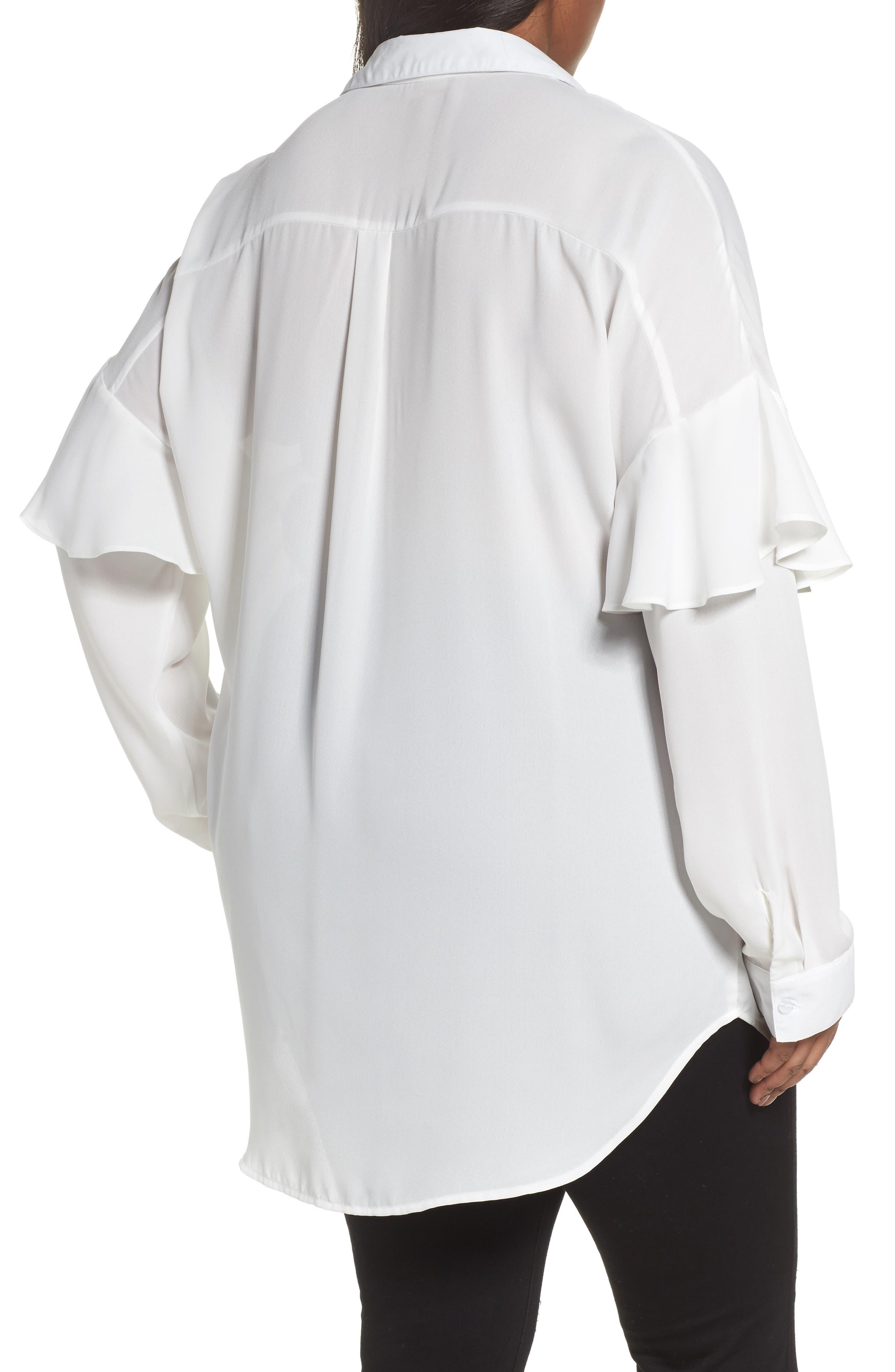 Asymmetrical Ruffle Blouse,                             Alternate thumbnail 2, color,                             White