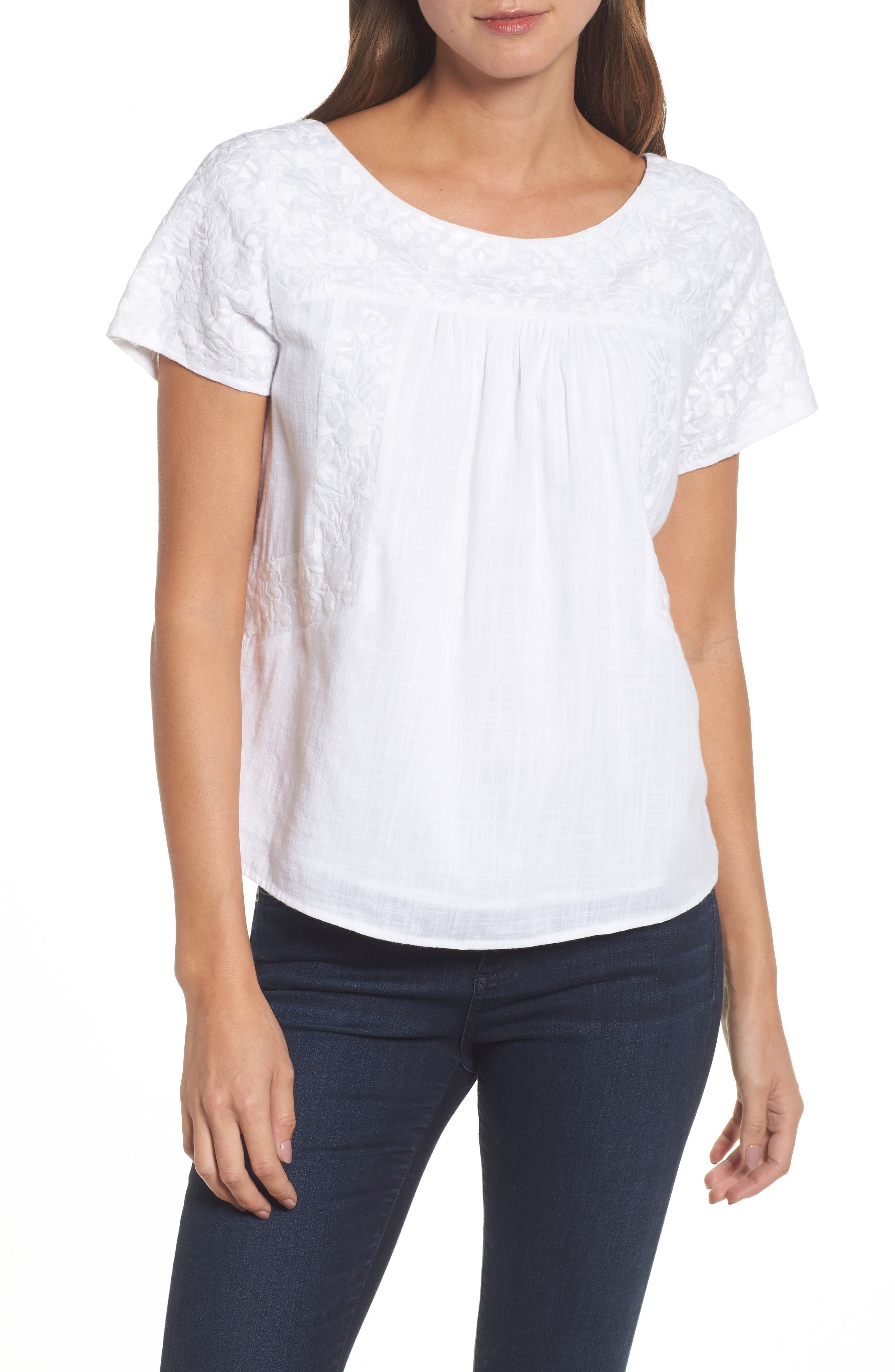 Monstera Linear Embroidered Top,                             Main thumbnail 1, color,                             White Cap