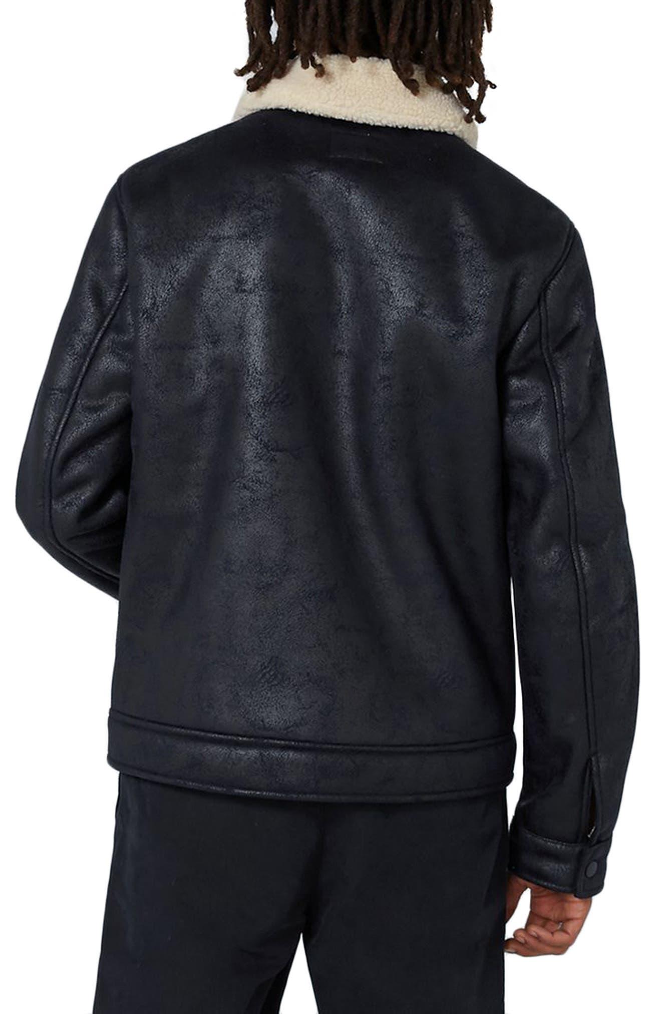 Faux Shearling Jacket,                             Alternate thumbnail 2, color,                             Dark Blue