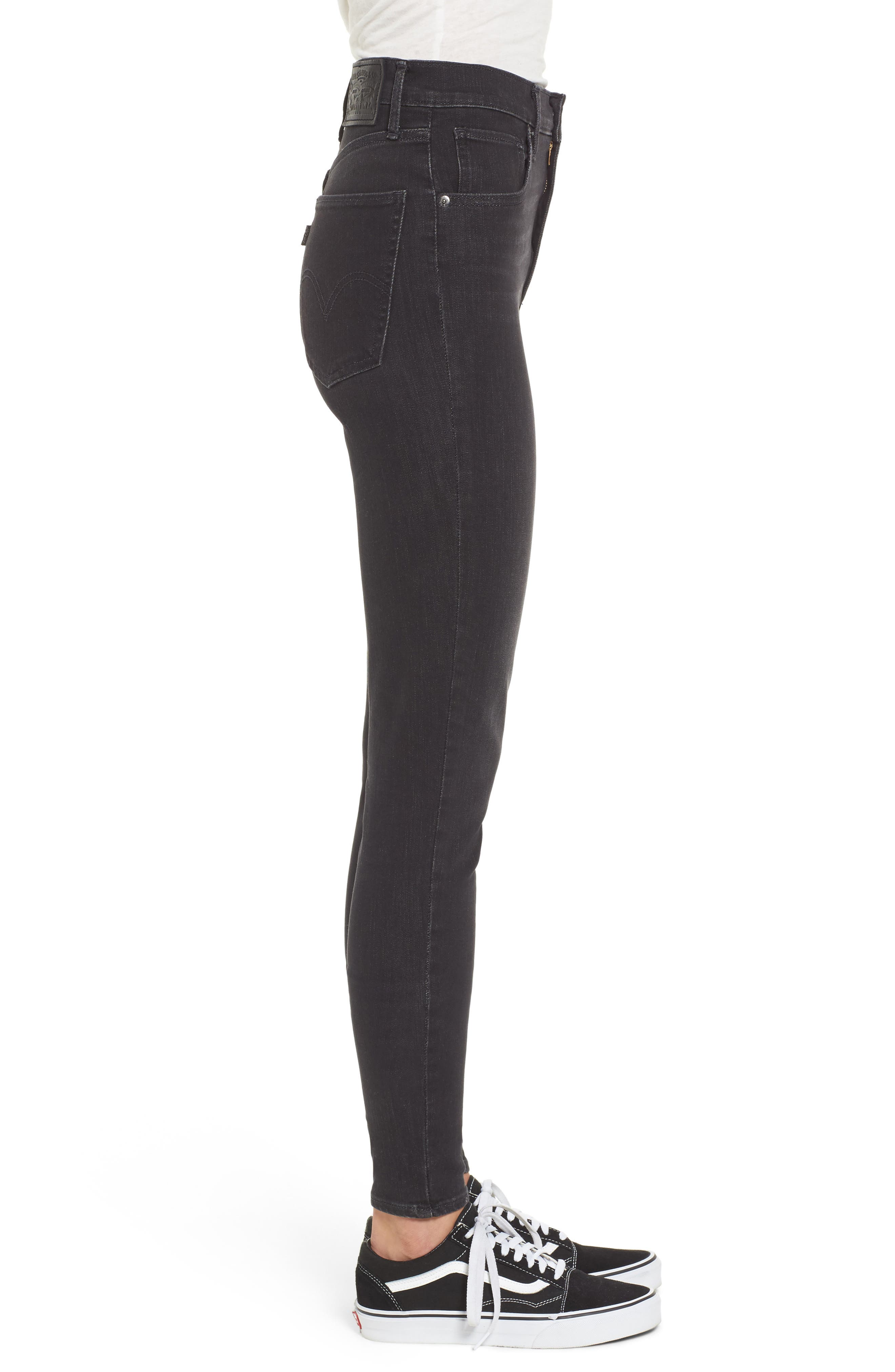 Mile High High Rise Skinny Jeans,                             Alternate thumbnail 3, color,                             Faded Ink