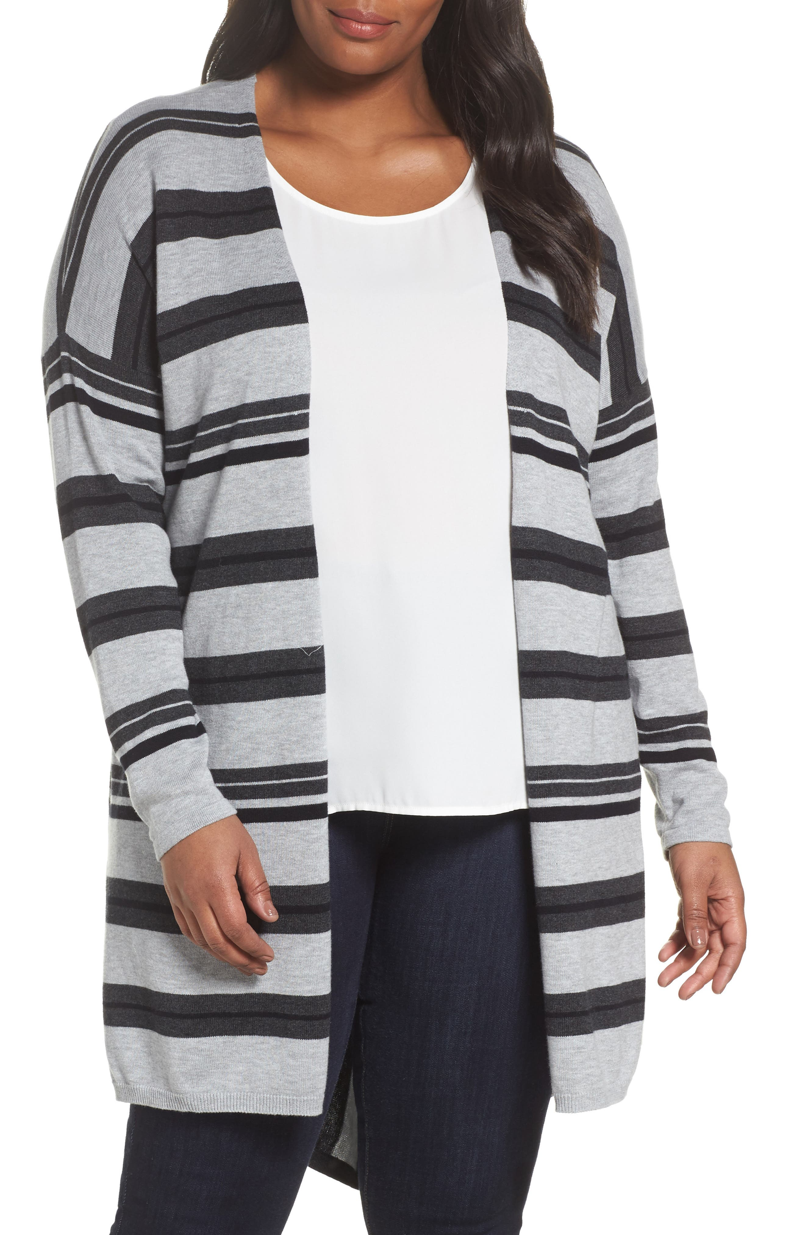 Alternate Image 1 Selected - Vince Camuto Long Stripe Cardigan (Plus Size)