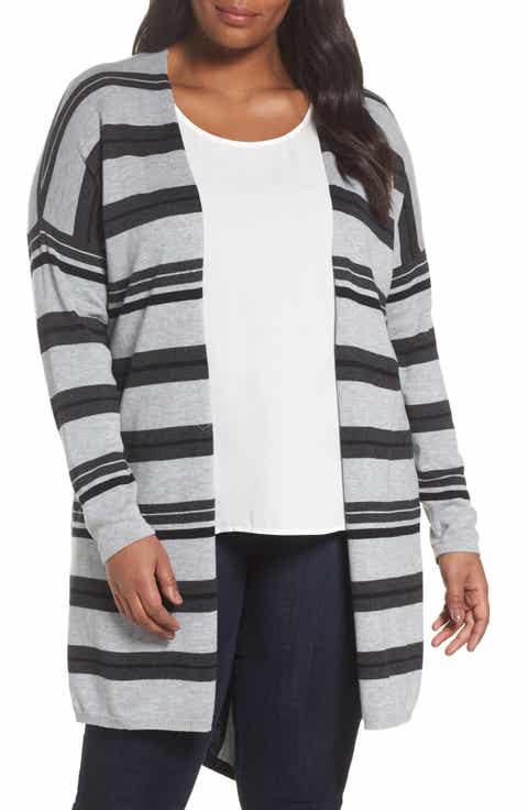 Vince Camuto Long Stripe Cardigan (Plus Size)