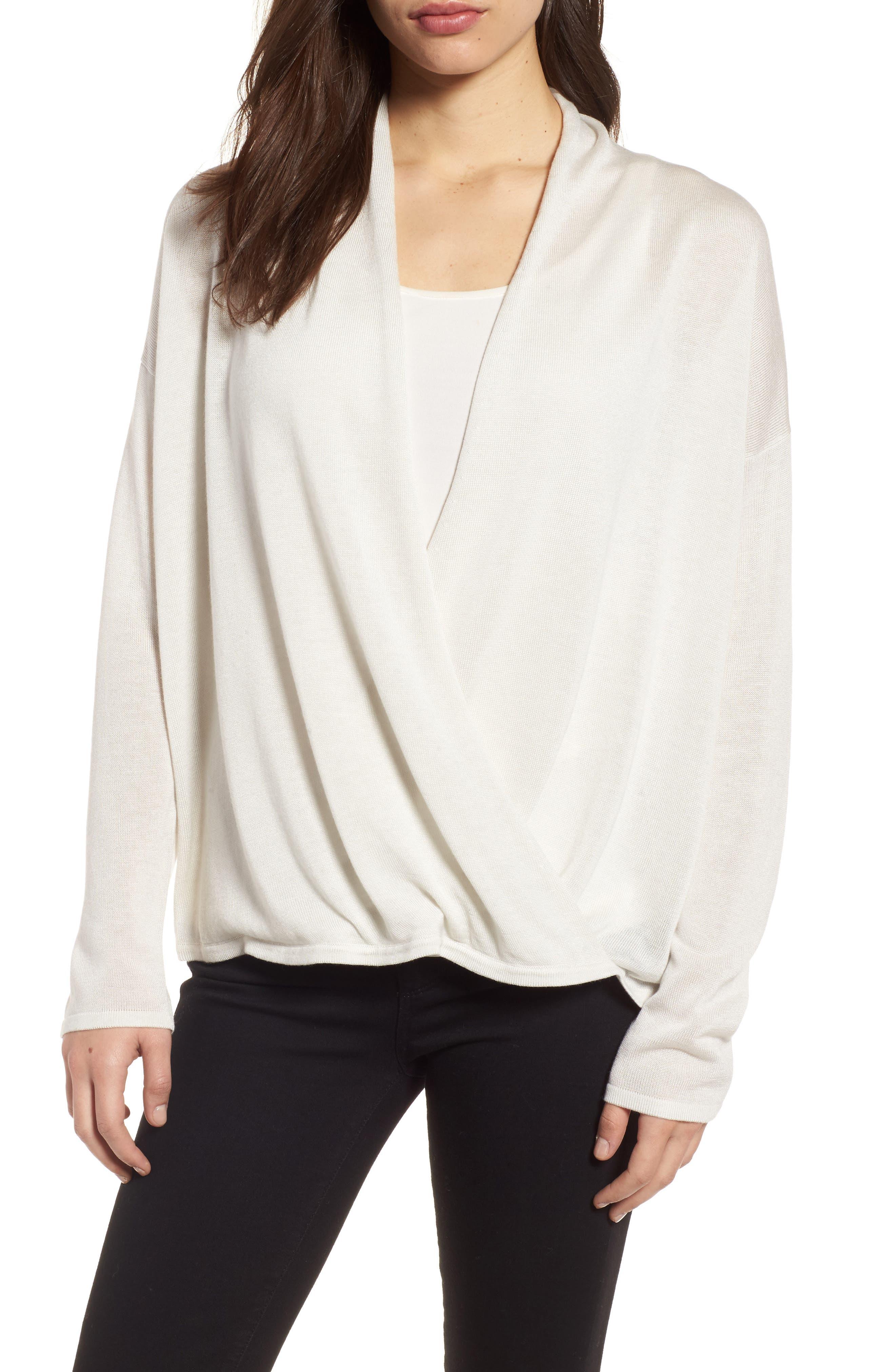 Faux Wrap Tencel<sup>®</sup> Lyocell & Merino Wool Sweater,                             Main thumbnail 1, color,                             Bone