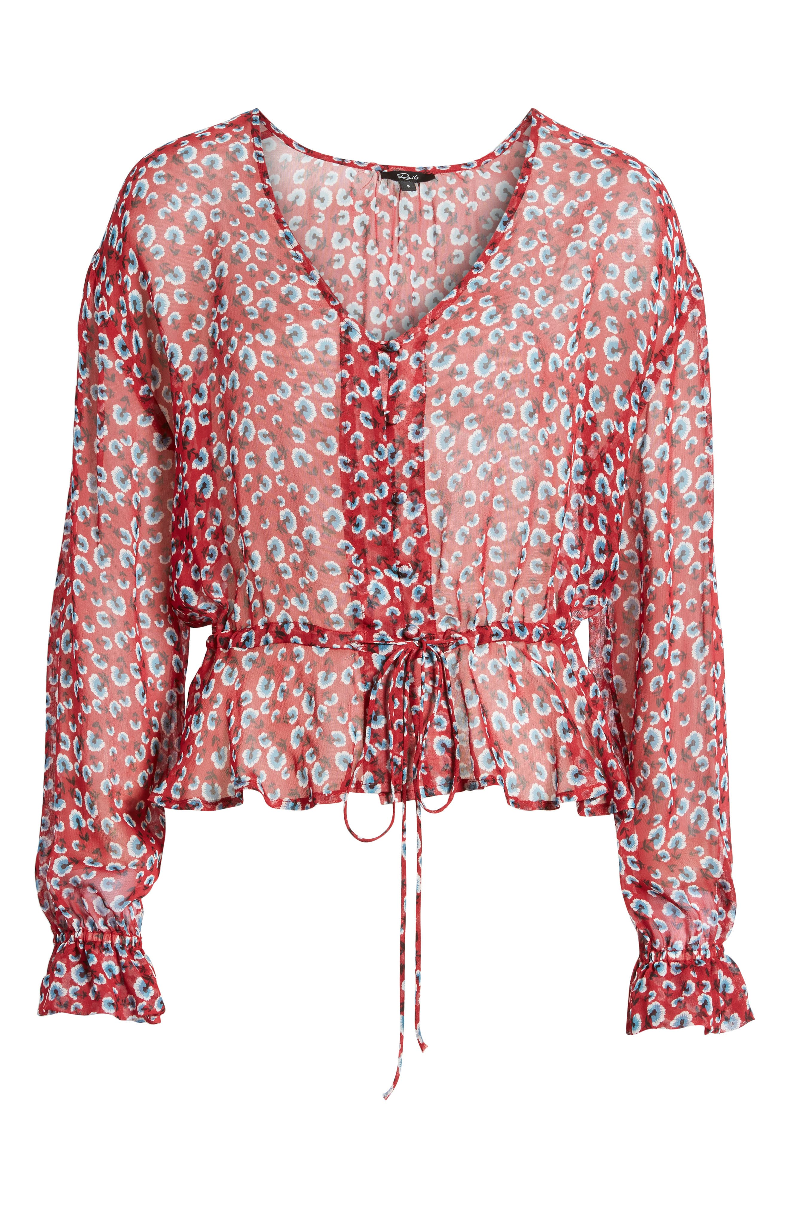 Beaux Print Blouse,                             Alternate thumbnail 6, color,                             Red Floral