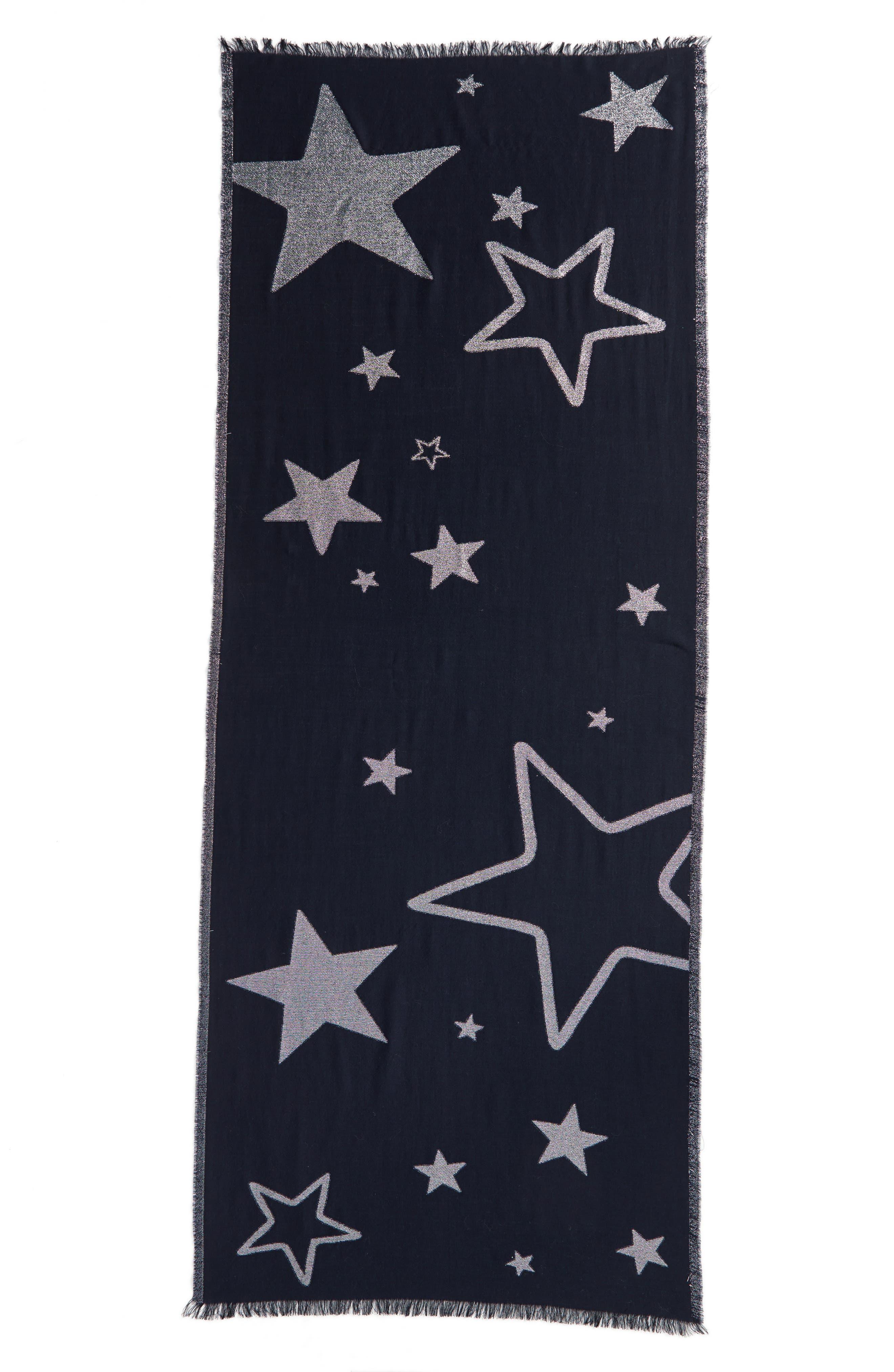 starry sky oblong scarf,                             Alternate thumbnail 2, color,                             Rich Navy