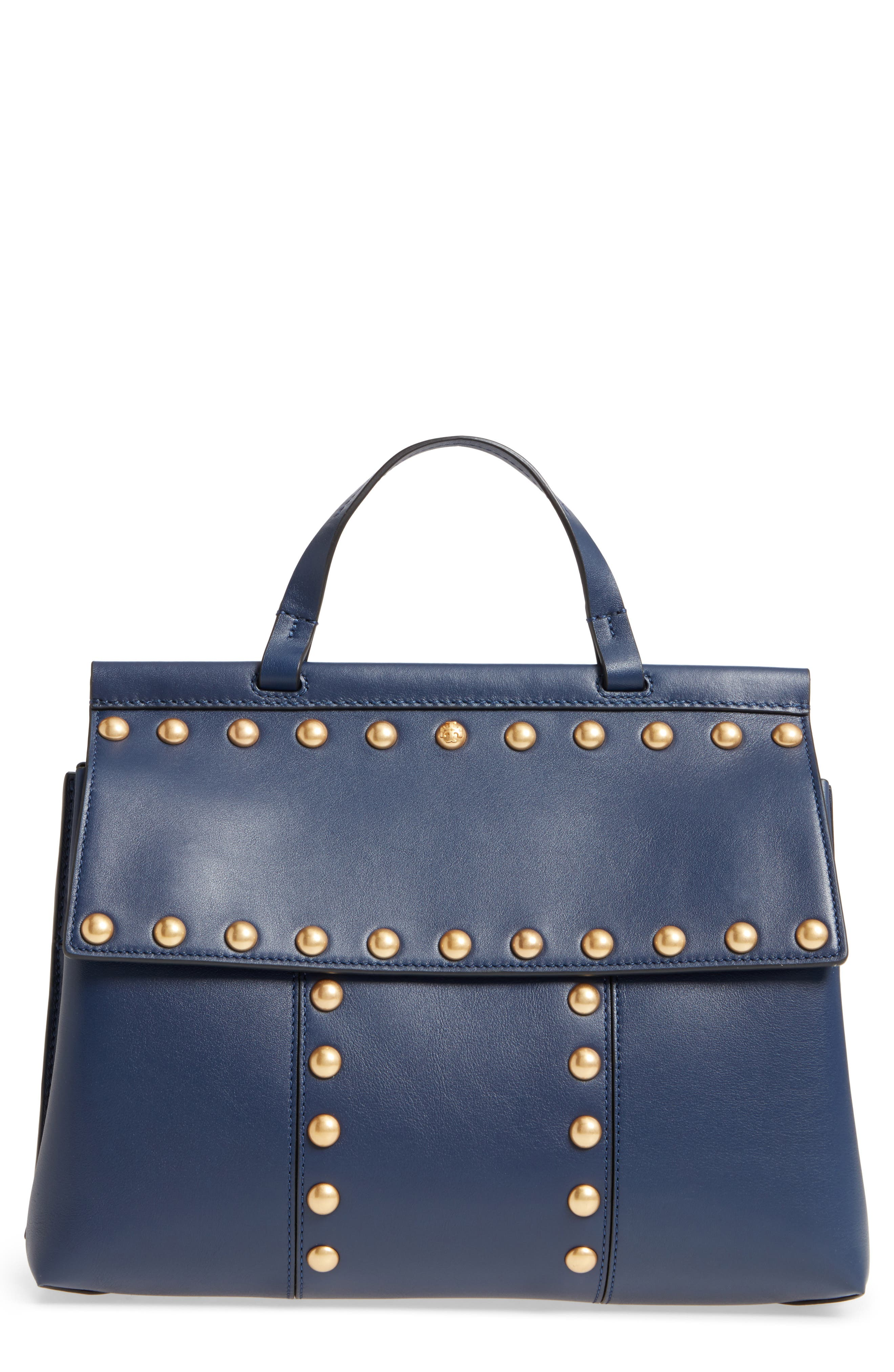 Block-T Studded Leather Top Handle Satchel,                         Main,                         color, Royal Navy