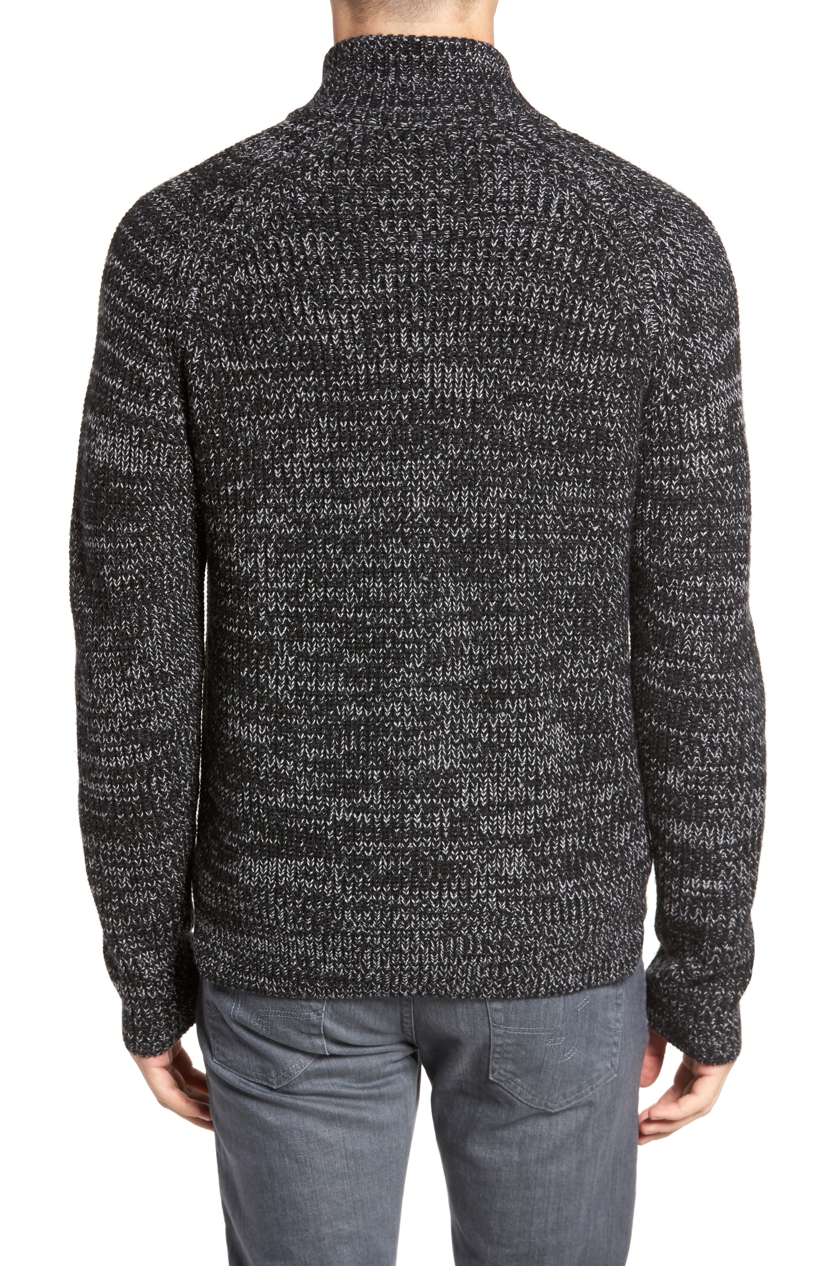 Zip Wool Blend Cardigan,                             Alternate thumbnail 2, color,                             Black