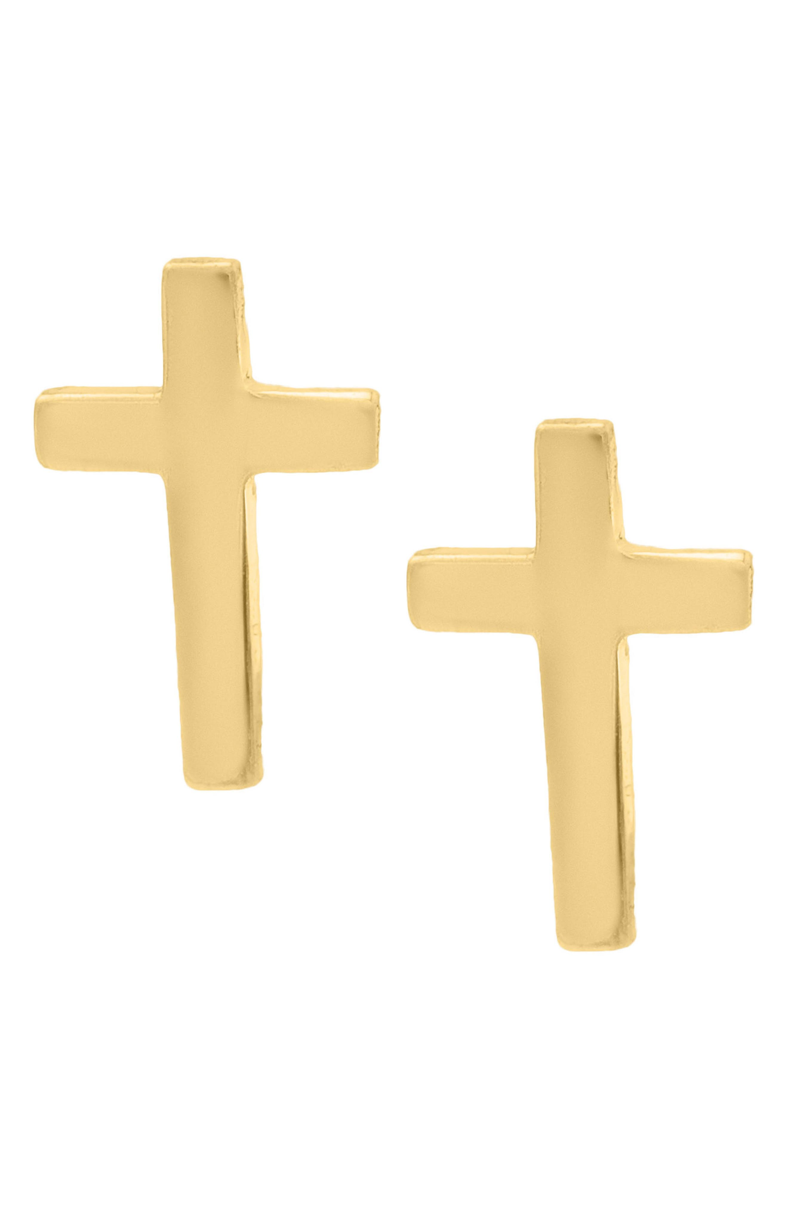 14k Gold Cross Stud Earrings,                             Alternate thumbnail 3, color,                             Gold