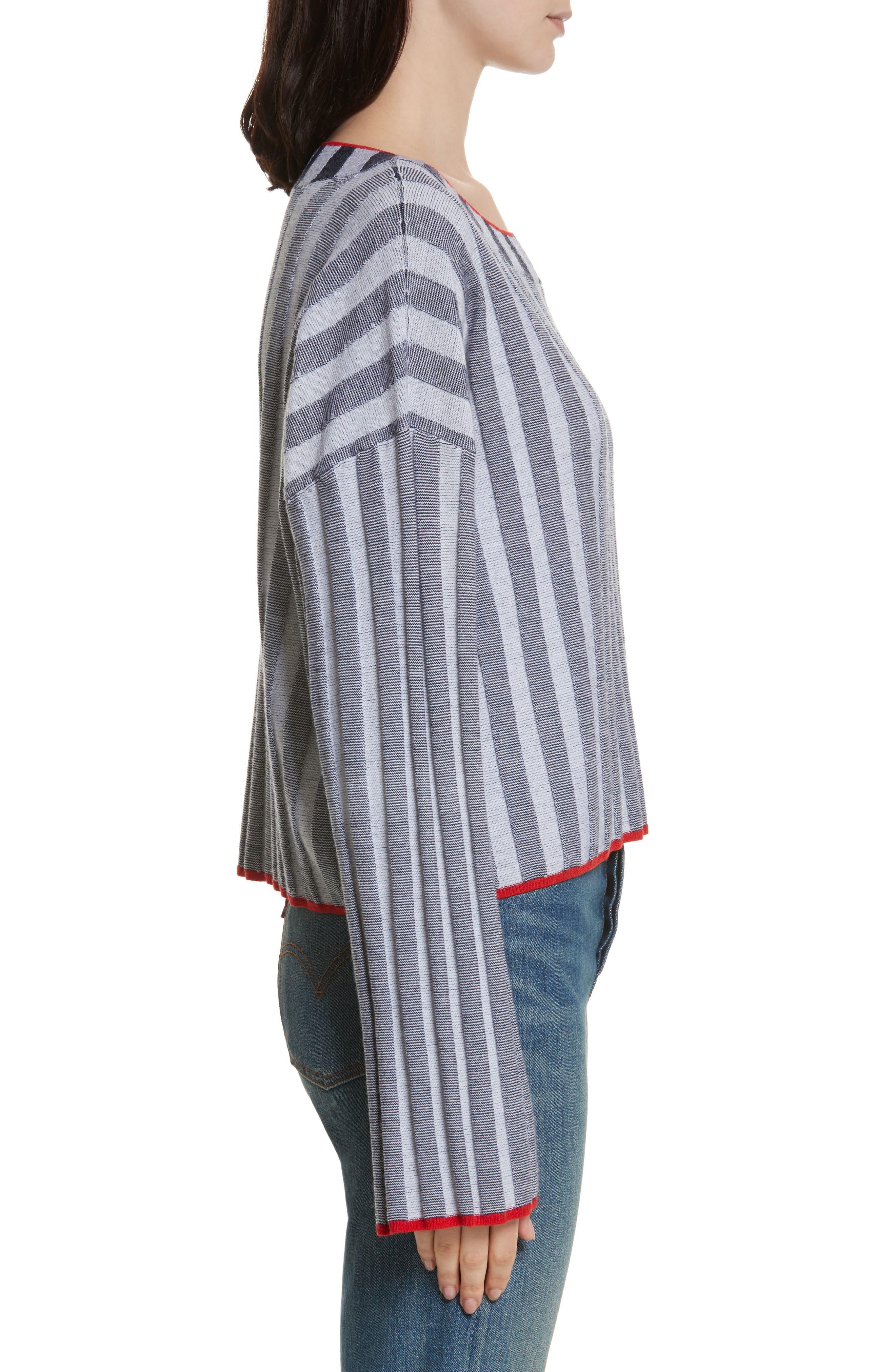 Campbell Stripe Merino Wool Blend Sweater,                             Alternate thumbnail 3, color,                             Navy/ Ivory