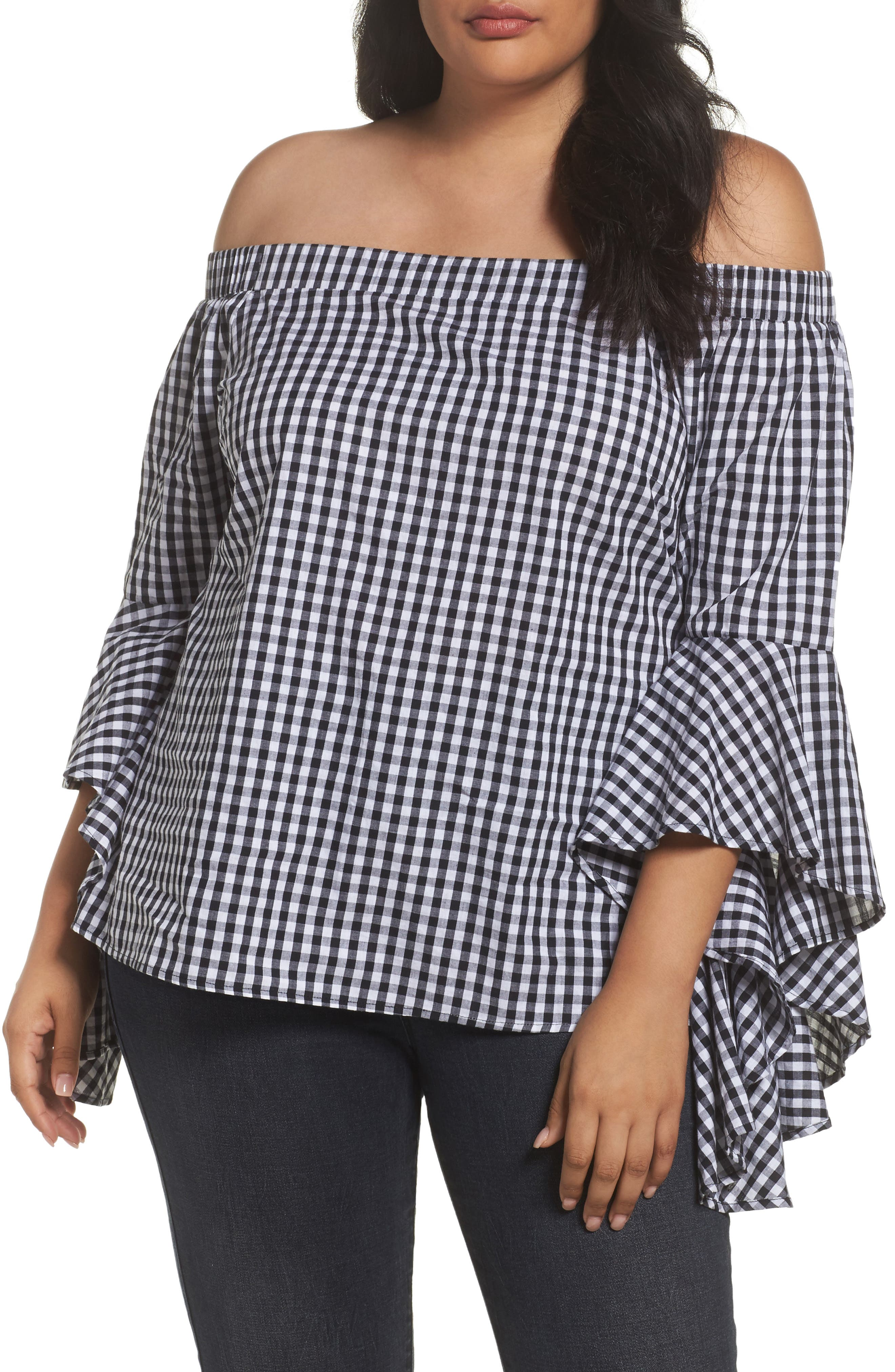 Bell Sleeve Off the Shoulder Shirt,                             Main thumbnail 1, color,                             Black / White
