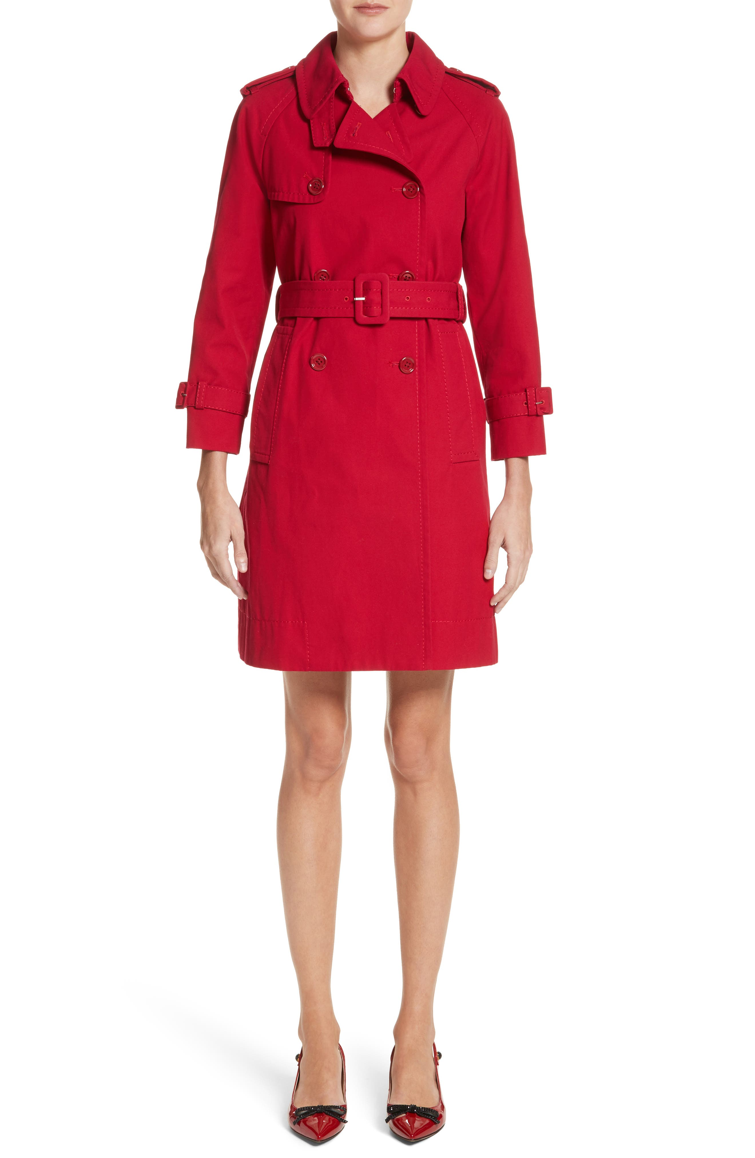 Shrunken Trench Coat,                             Main thumbnail 1, color,                             Red