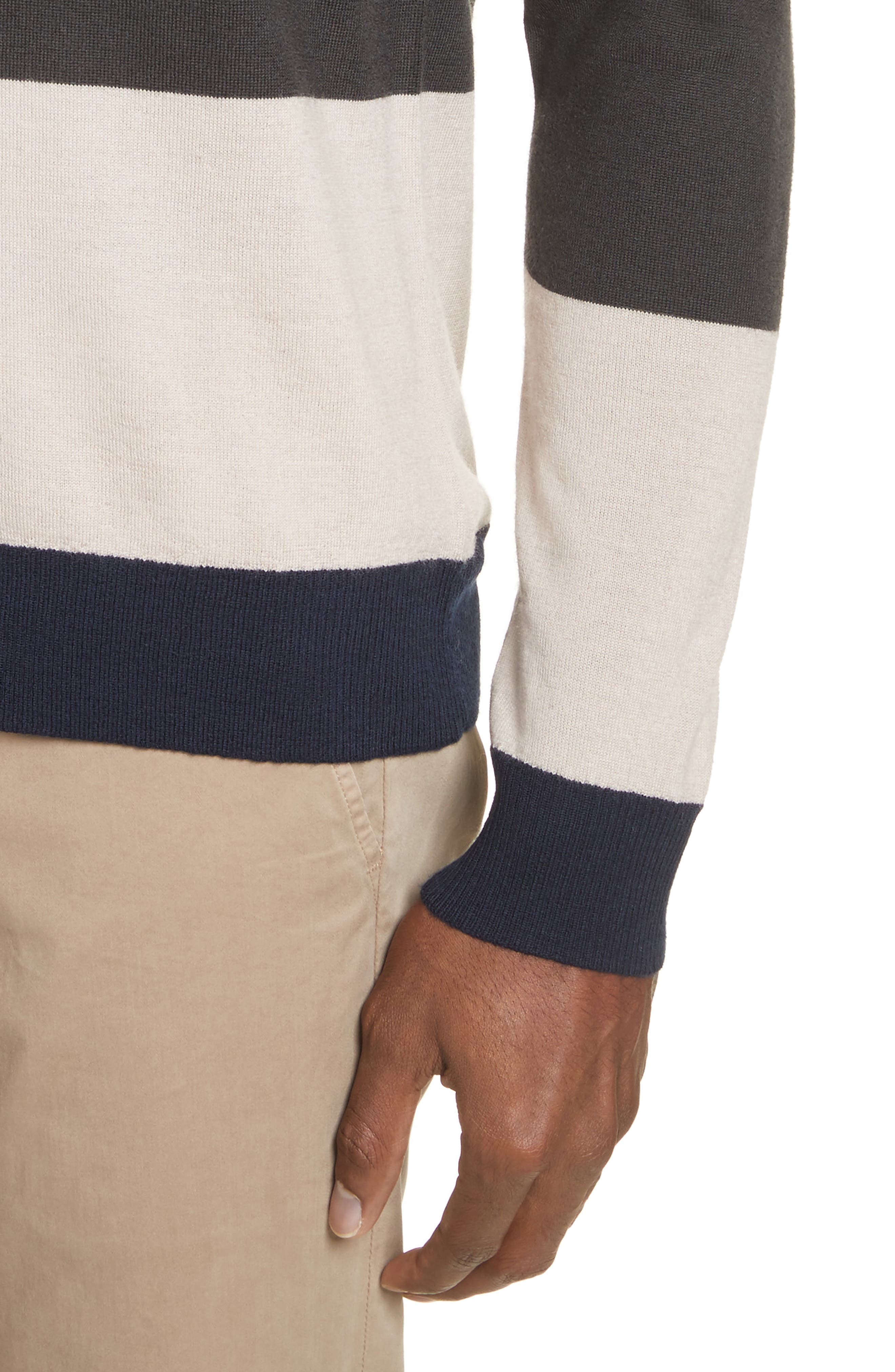 Colorblock Merino Wool Sweater,                             Alternate thumbnail 4, color,                             Beige/ Slate/ Midnight