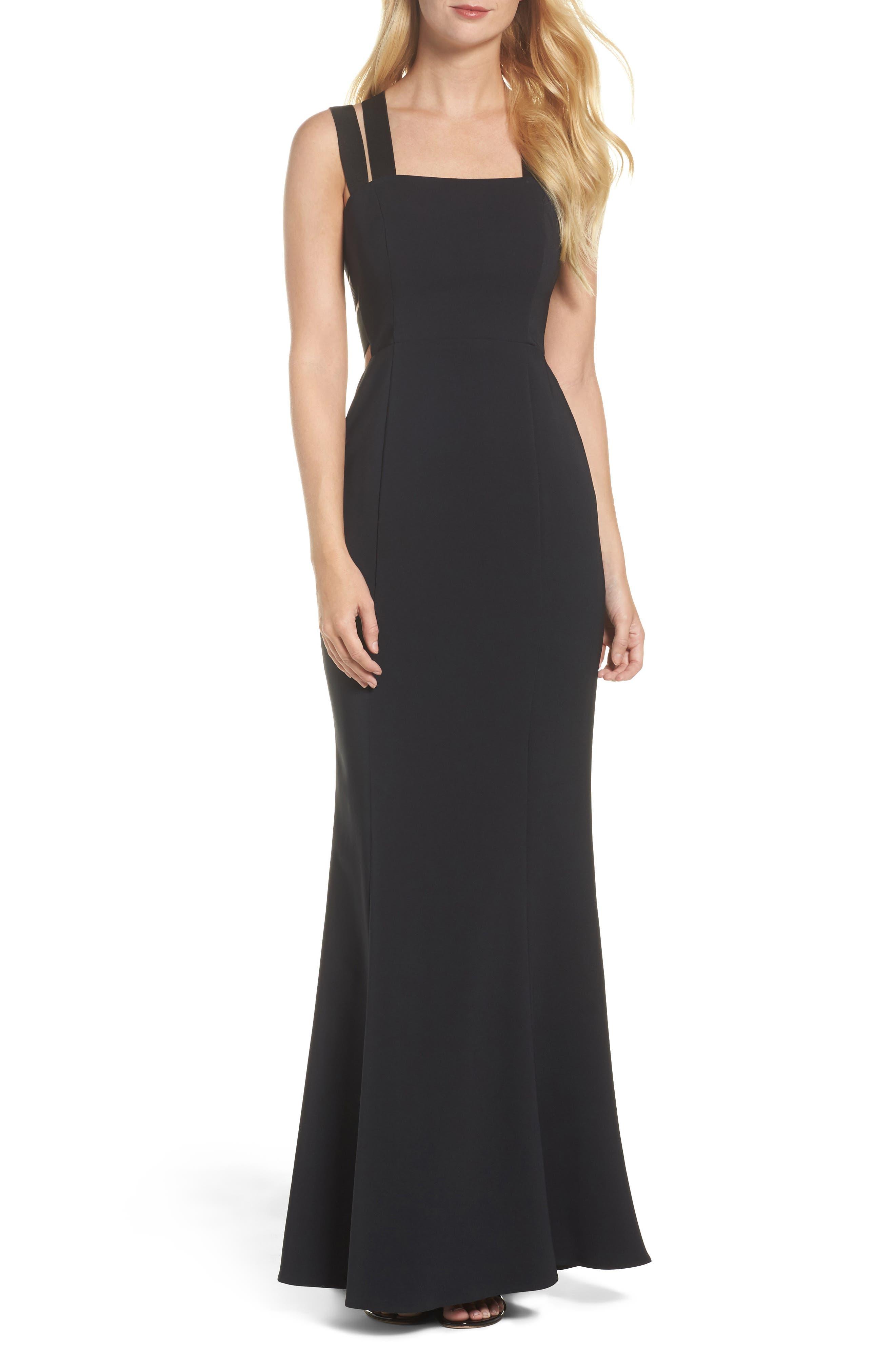 Krista Elastic Strap Cutout Gown,                         Main,                         color, Black