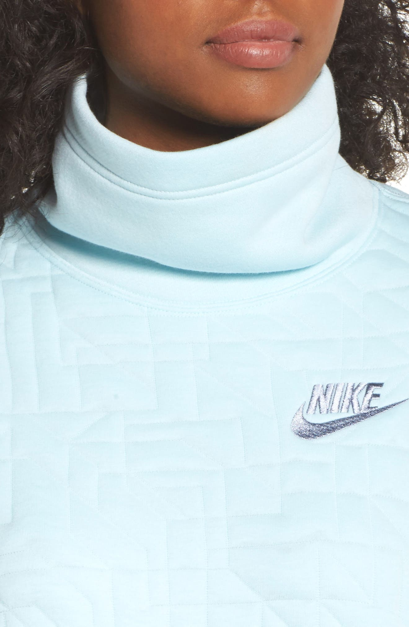 Sportswear Quilted Funnel Neck Pullover,                             Alternate thumbnail 6, color,                             Glacier Blue/ Glacier Grey