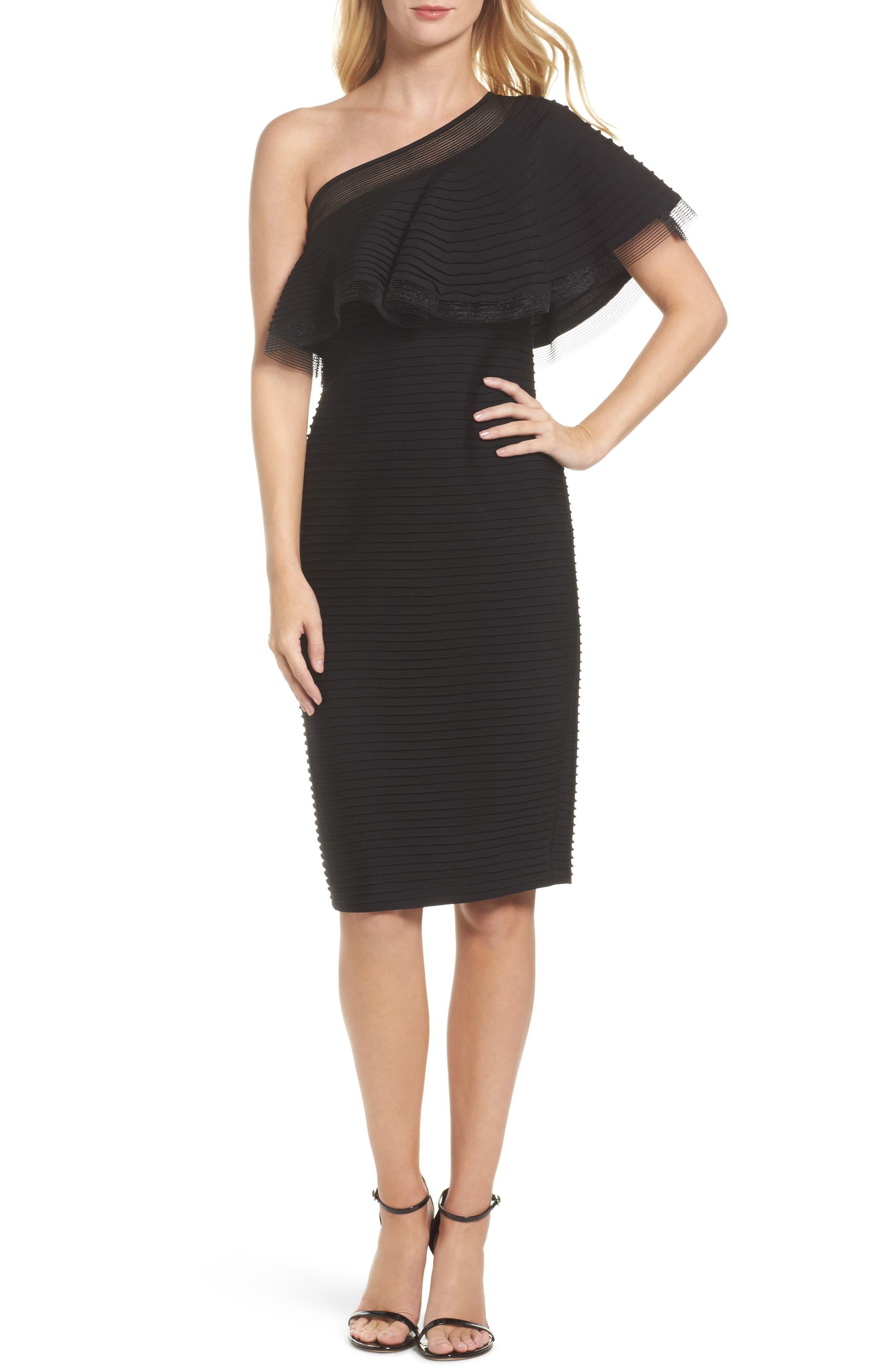 Pintuck One-Shoulder Dress,                         Main,                         color, Black