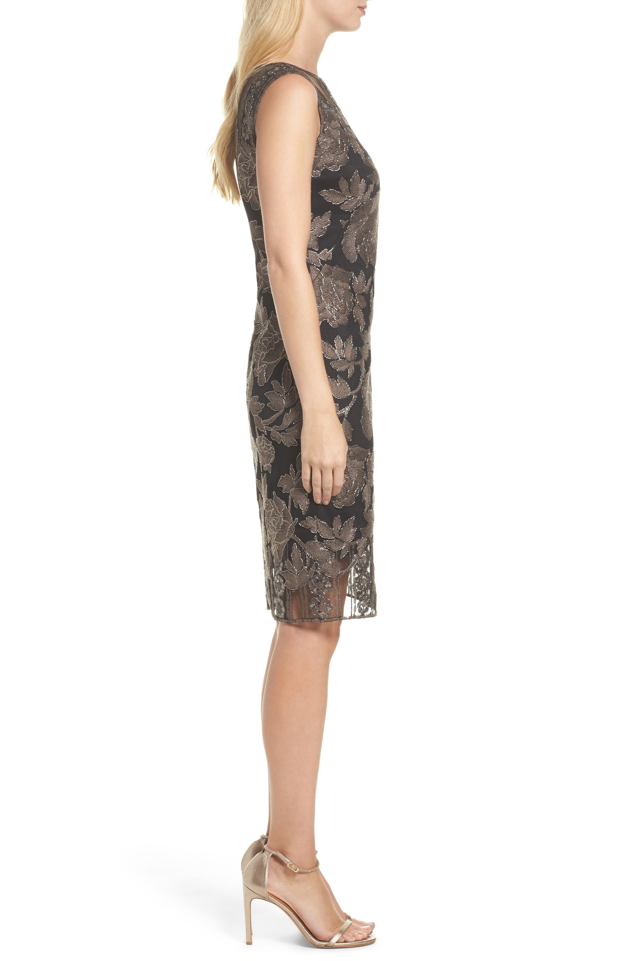 Embroidered Lace Sheath Dress,                             Alternate thumbnail 3, color,                             Dark Pearl/ Black