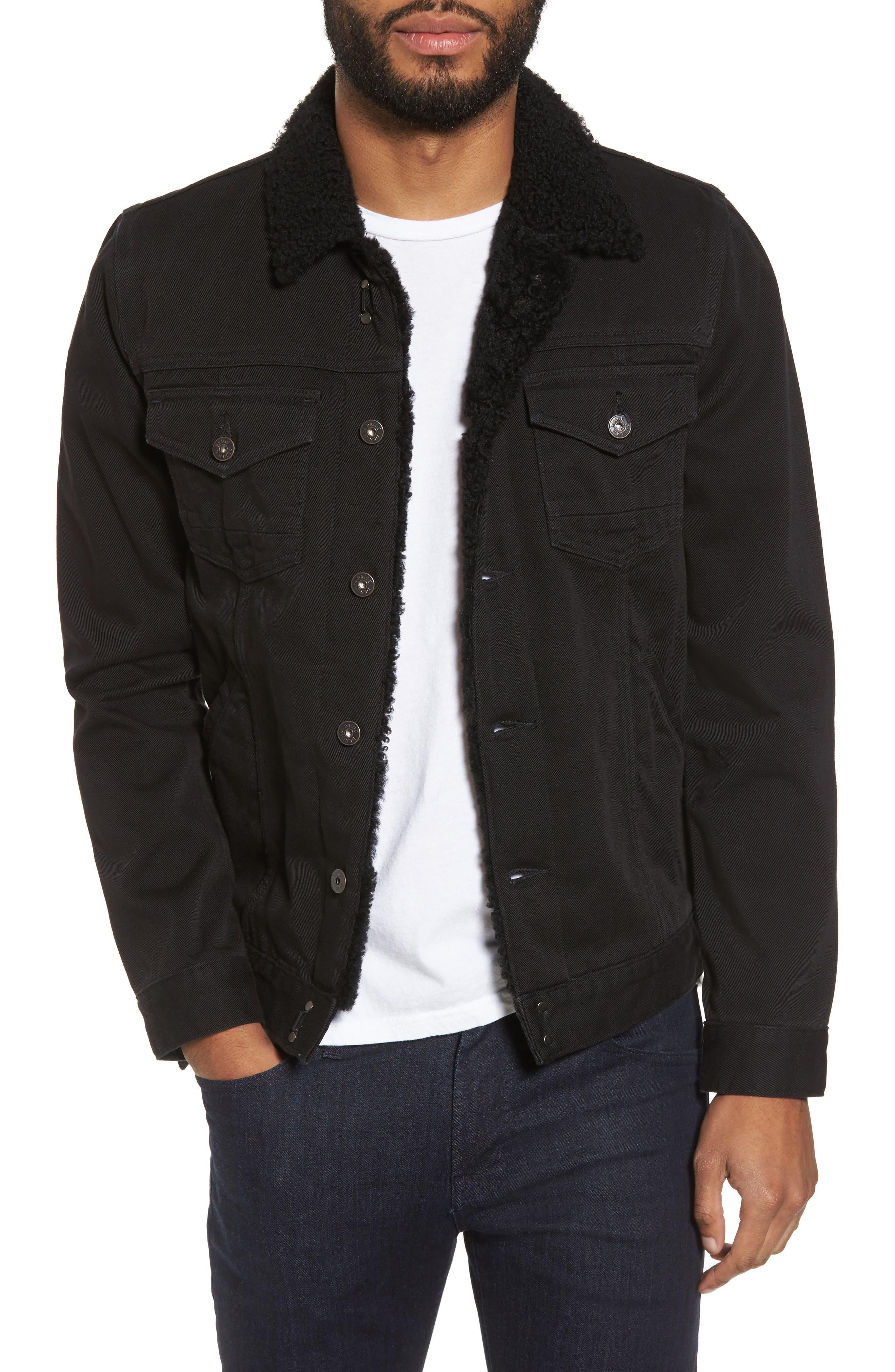 Alec Denim Jacket with Faux Shearling Trim,                         Main,                         color, Blackout