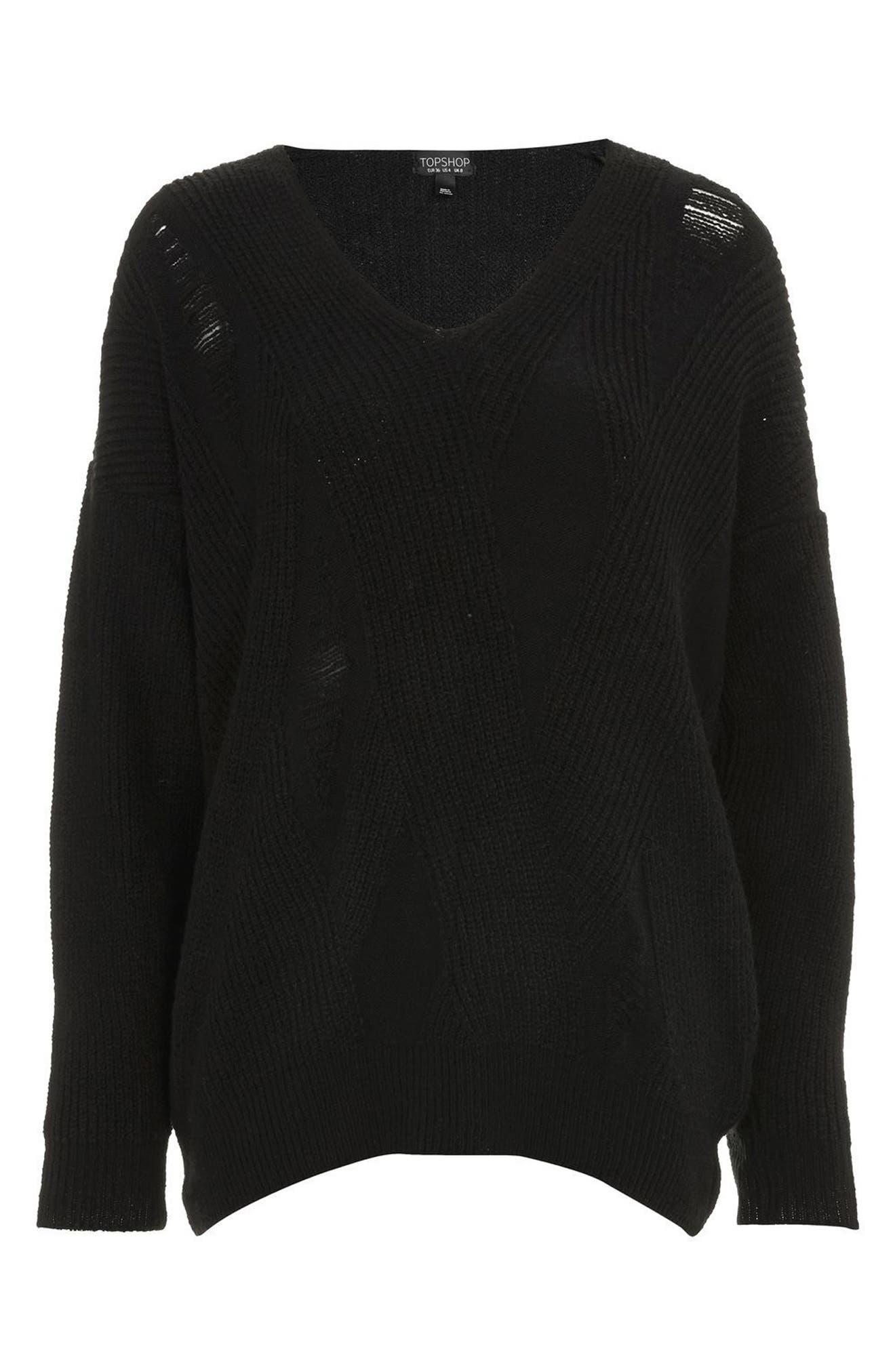 Ladder Stitch Sweater,                             Alternate thumbnail 4, color,                             Black