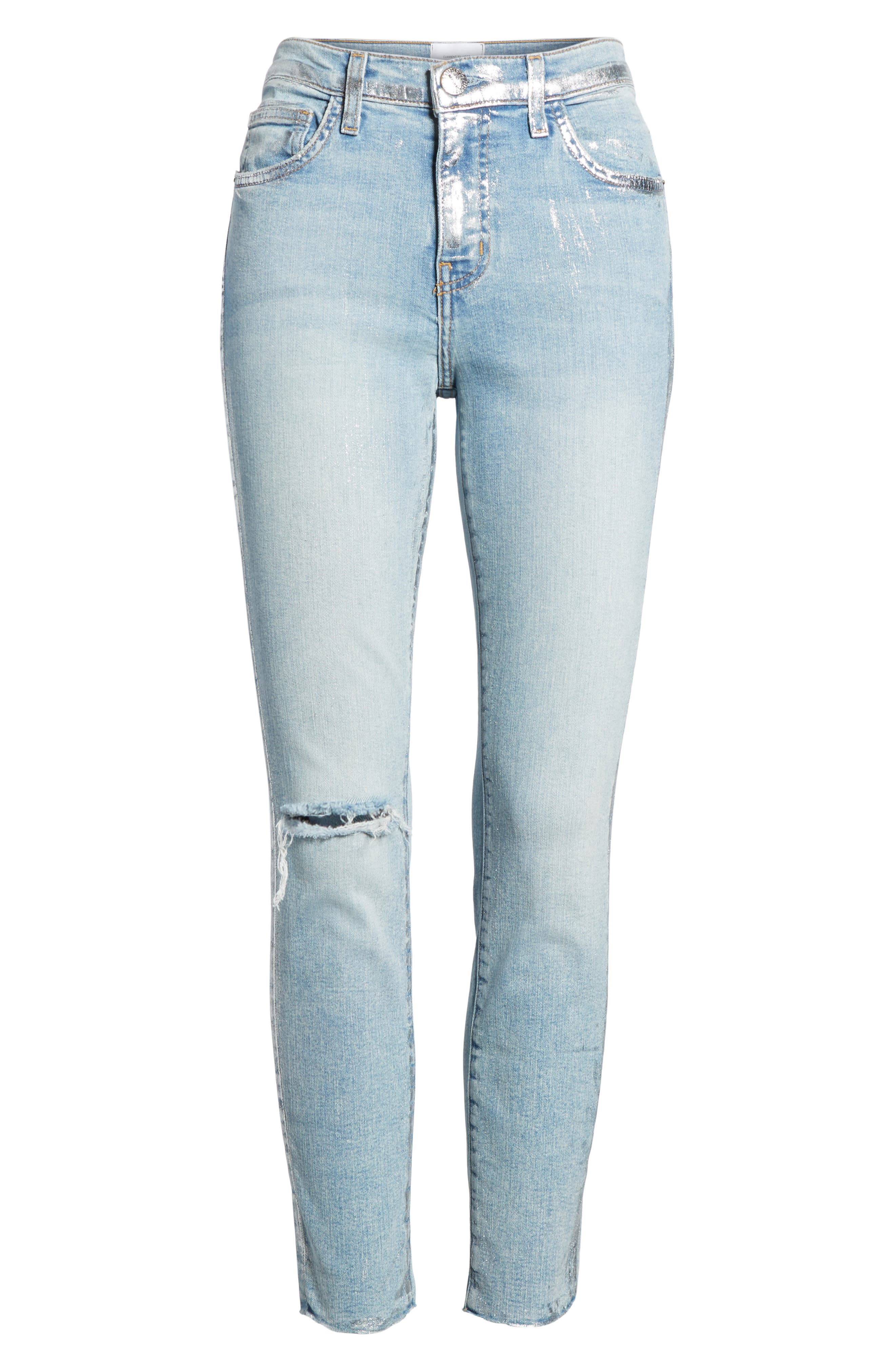 The Stiletto High Waist Skinny Jeans,                             Alternate thumbnail 6, color,                             Seville Destroy/ Foil