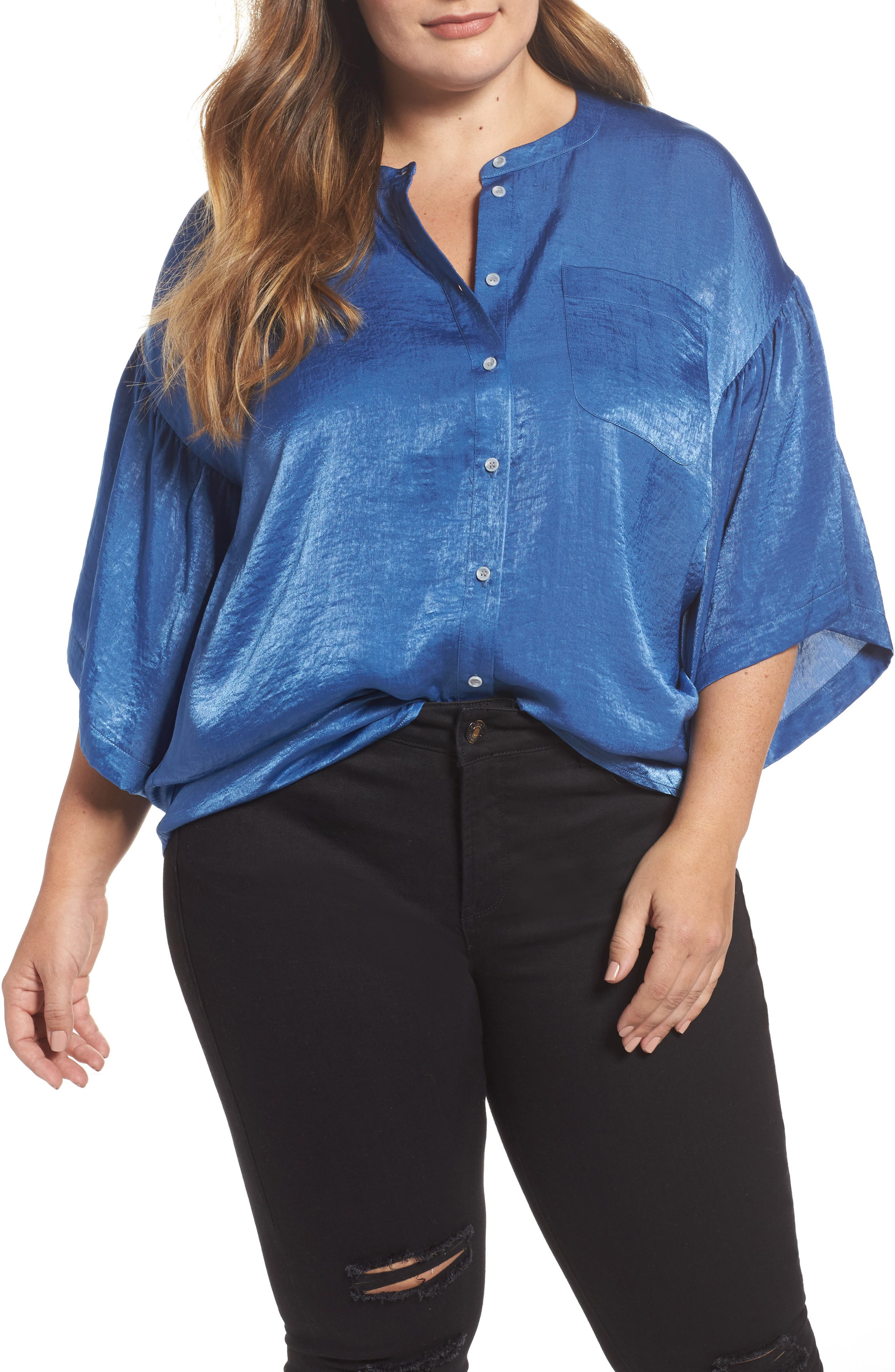 Main Image - Two by Vince Camuto Bell Sleeve Rumpled Satin Blouse (Plus Size)
