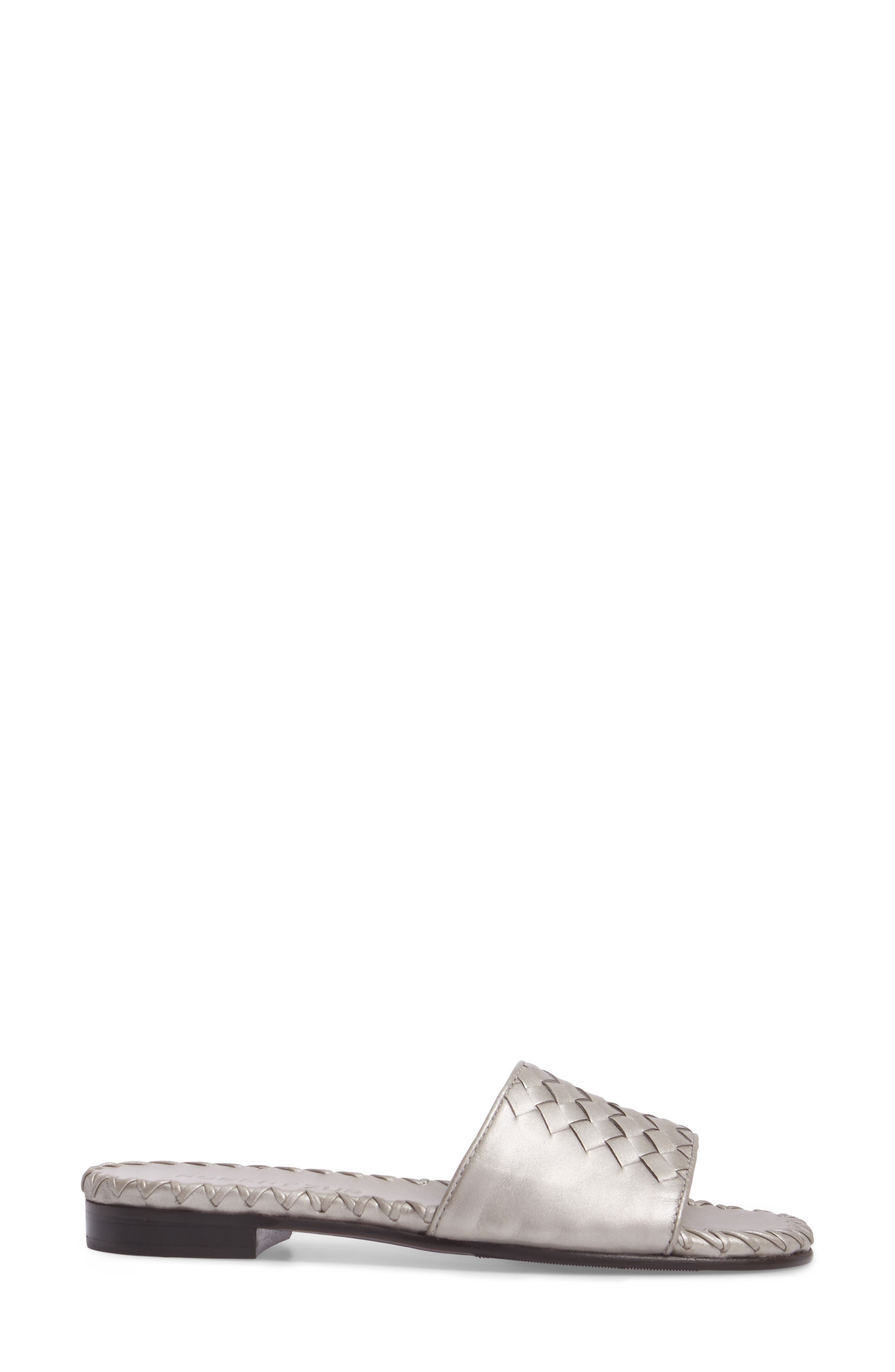 Matilda Woven Slide Sandal,                             Alternate thumbnail 3, color,                             Silver