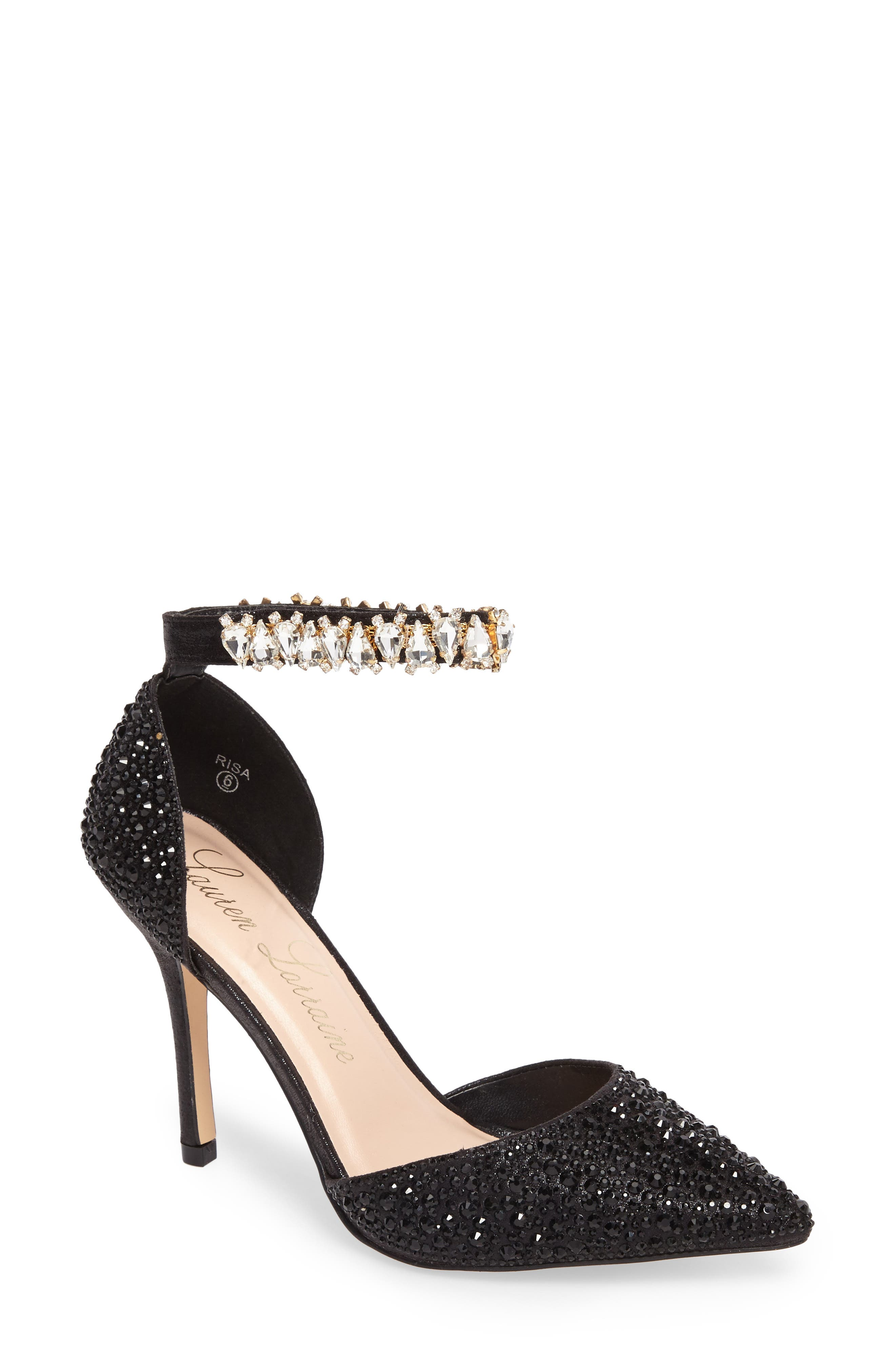 Risa Ankle Strap Pump,                         Main,                         color, Black