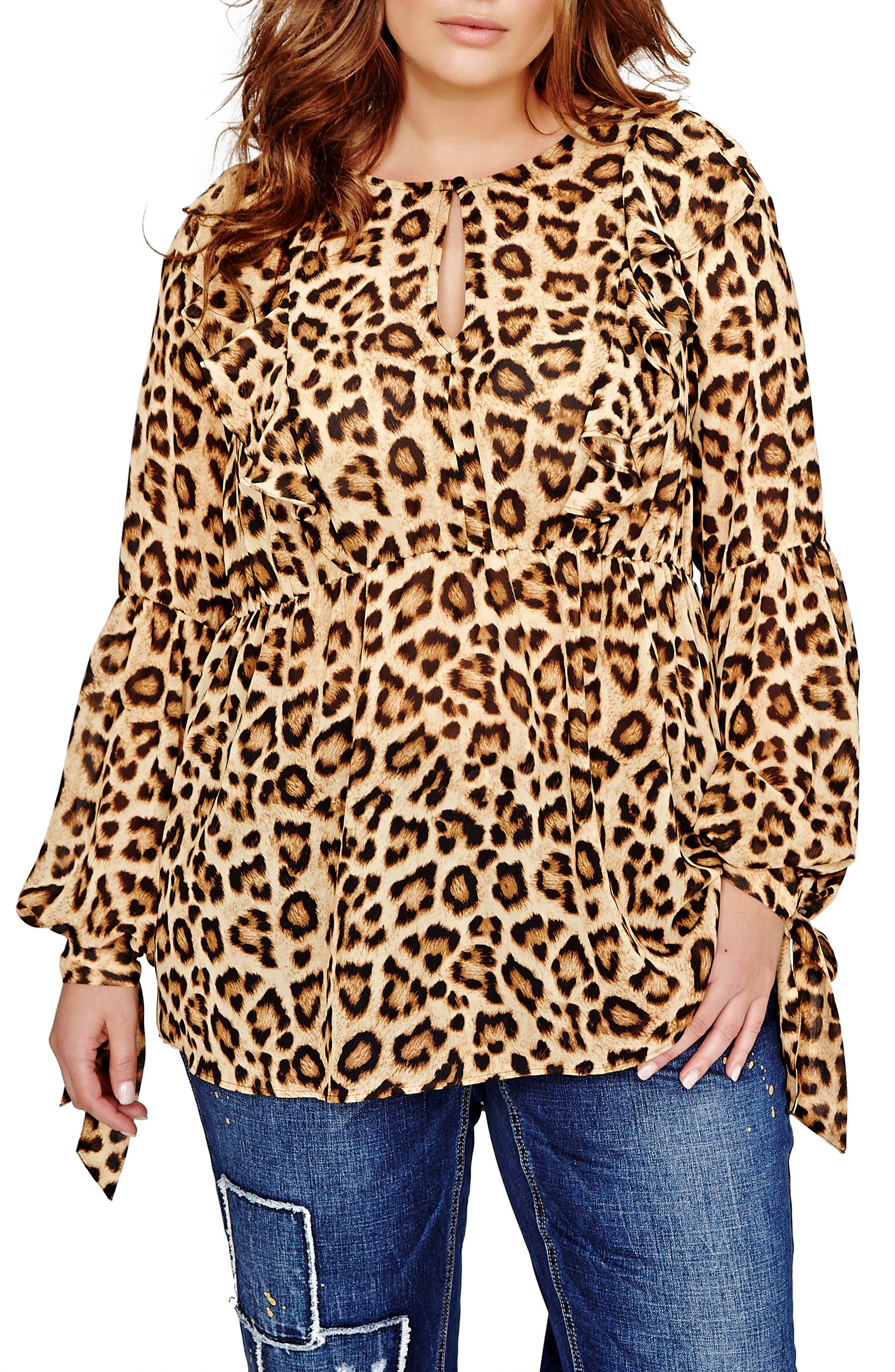 Leoopard Print Blouse,                         Main,                         color, Brown Leopard