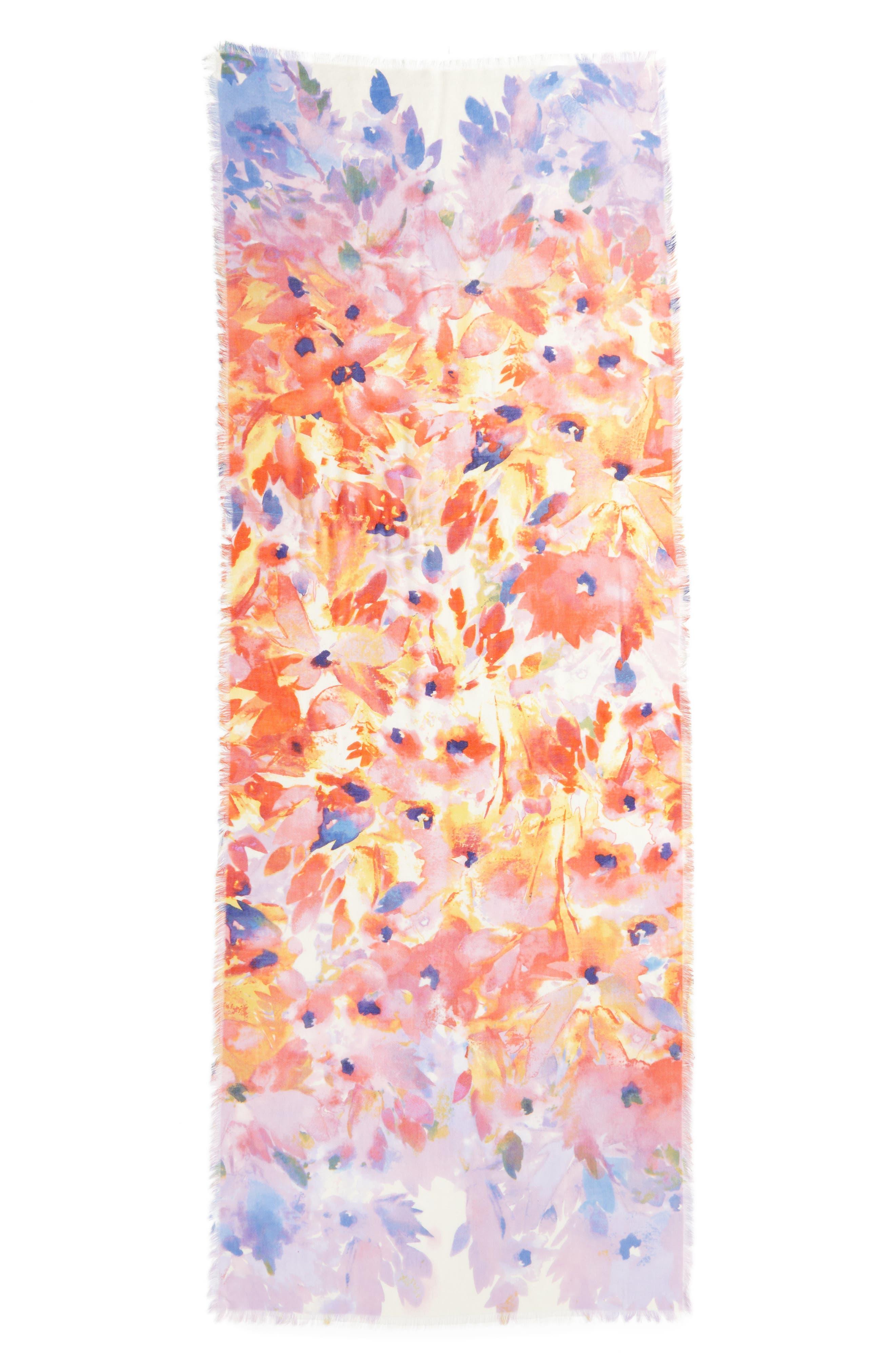 Eyelash Trim Print Cashmere & Silk Wrap,                             Alternate thumbnail 3, color,                             Red Floral Oasis