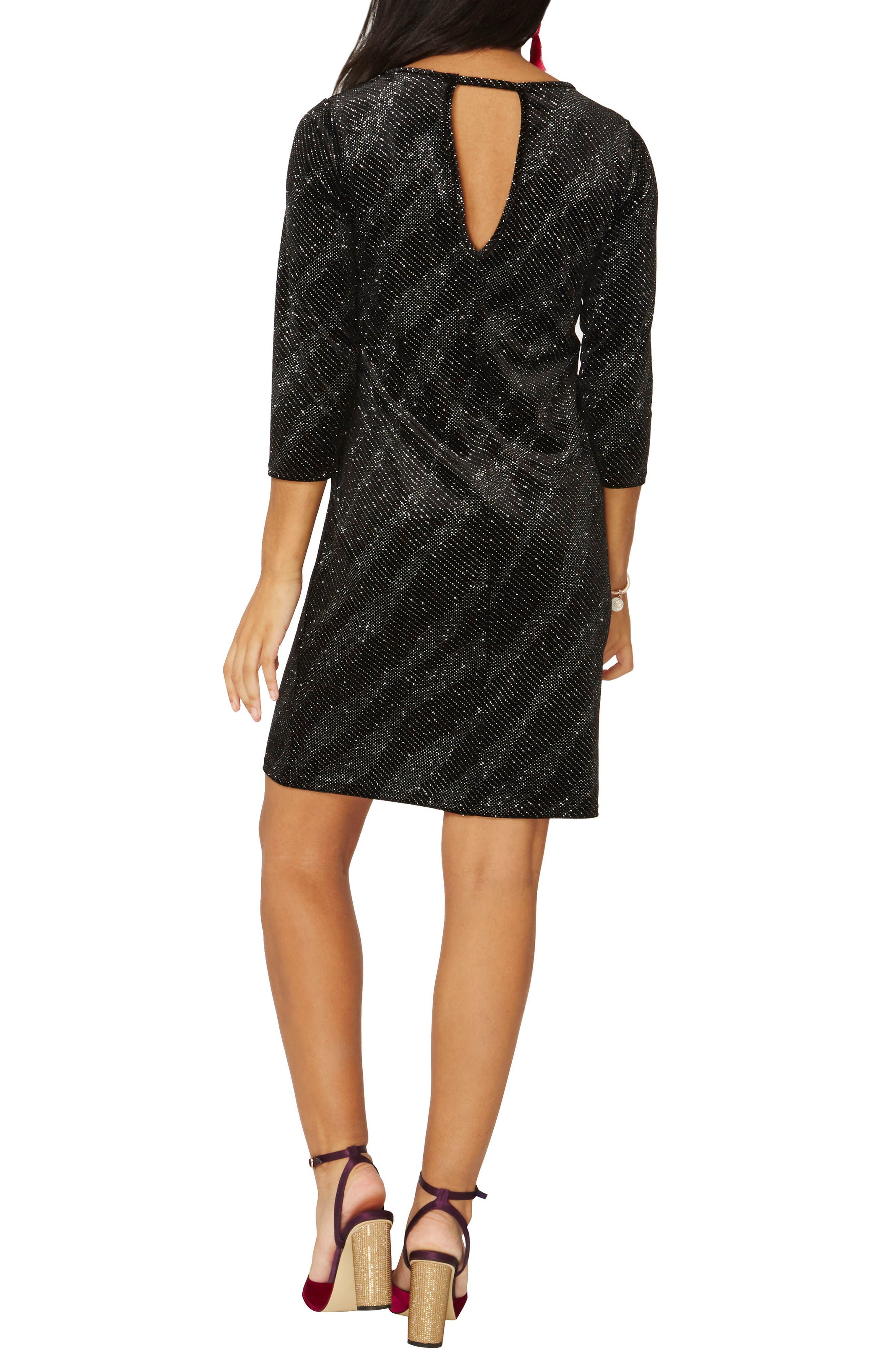 Metallic Shift Dress,                             Alternate thumbnail 2, color,                             Black