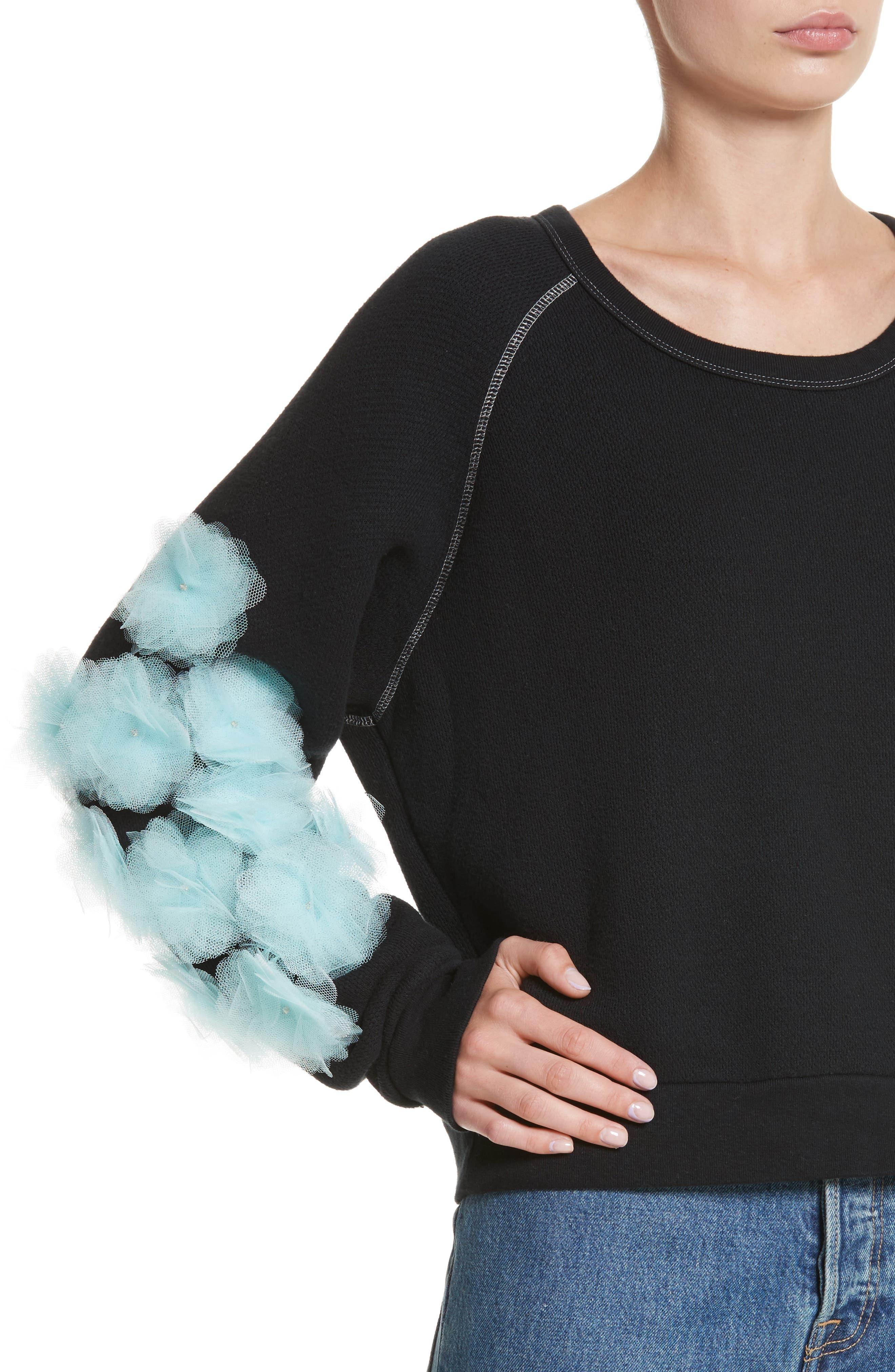 Tu es mon TRESOR Tulle Flower Sweatshirt,                             Alternate thumbnail 4, color,                             Black/ Mint Bkmi