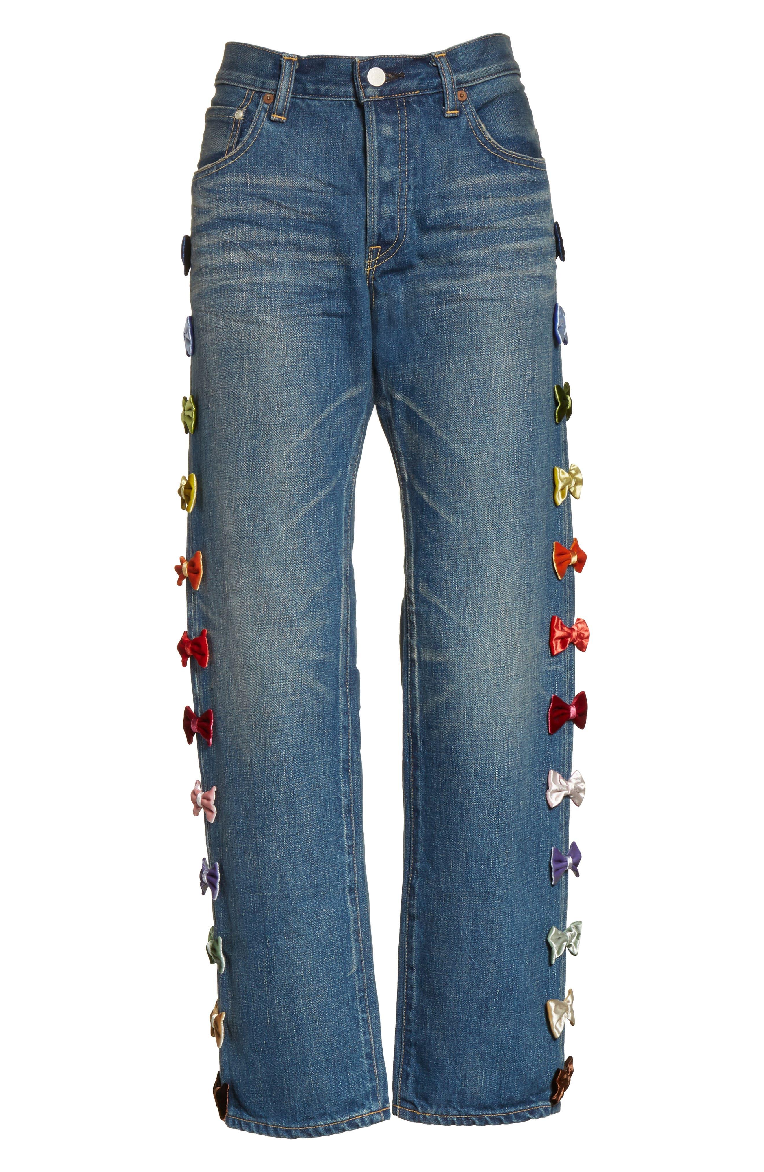 Alternate Image 6  - Tu es mon TRESOR Velvet Side Bow Jeans