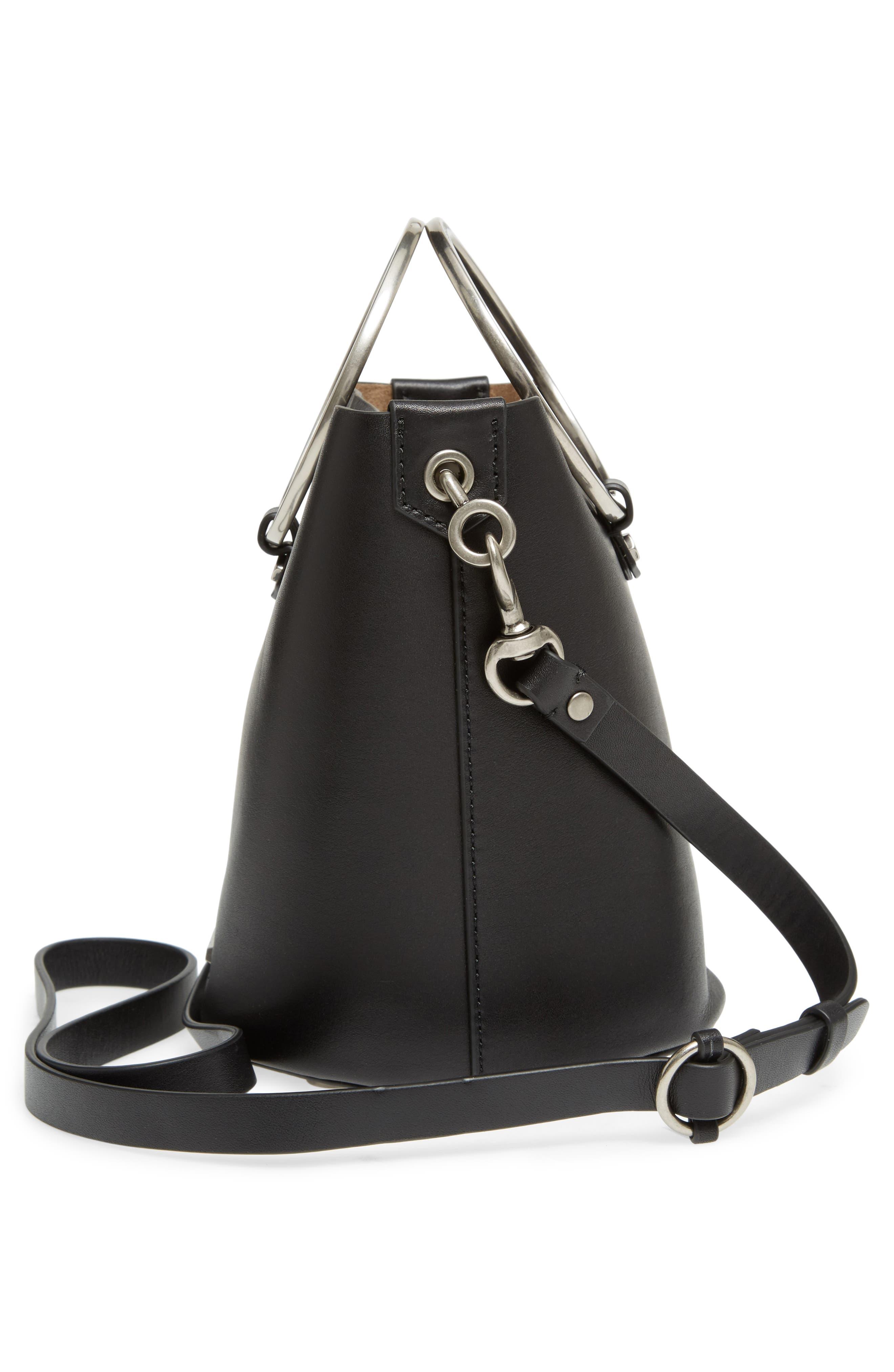 Ring Leather Bucket Bag,                             Alternate thumbnail 5, color,                             Black