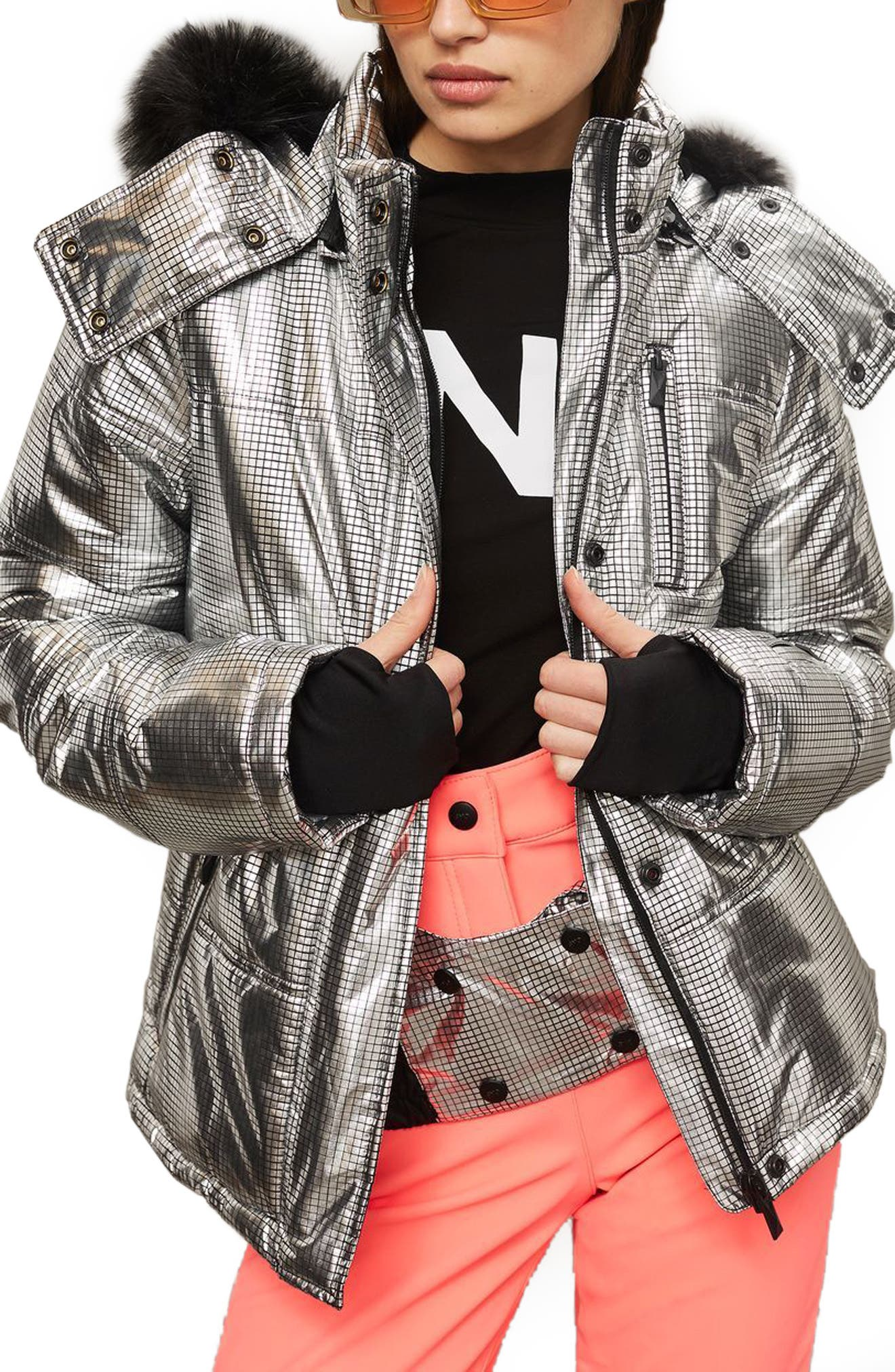 SNO Rio Faux Fur Hood Metallic Puffer Jacket,                         Main,                         color, Silver