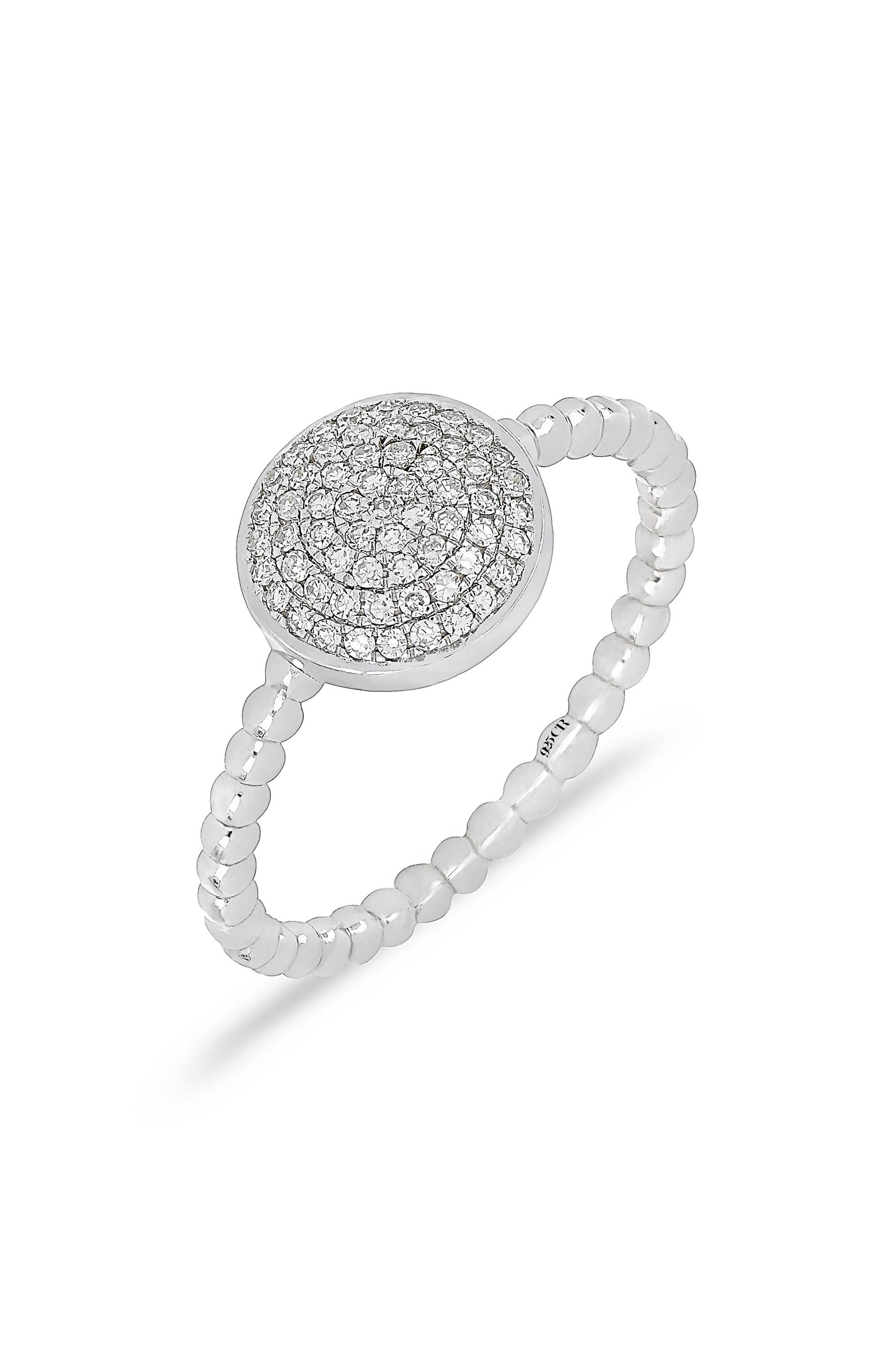 Carrière Pavé Diamond Disc Ring,                         Main,                         color, Silver/ Diamond