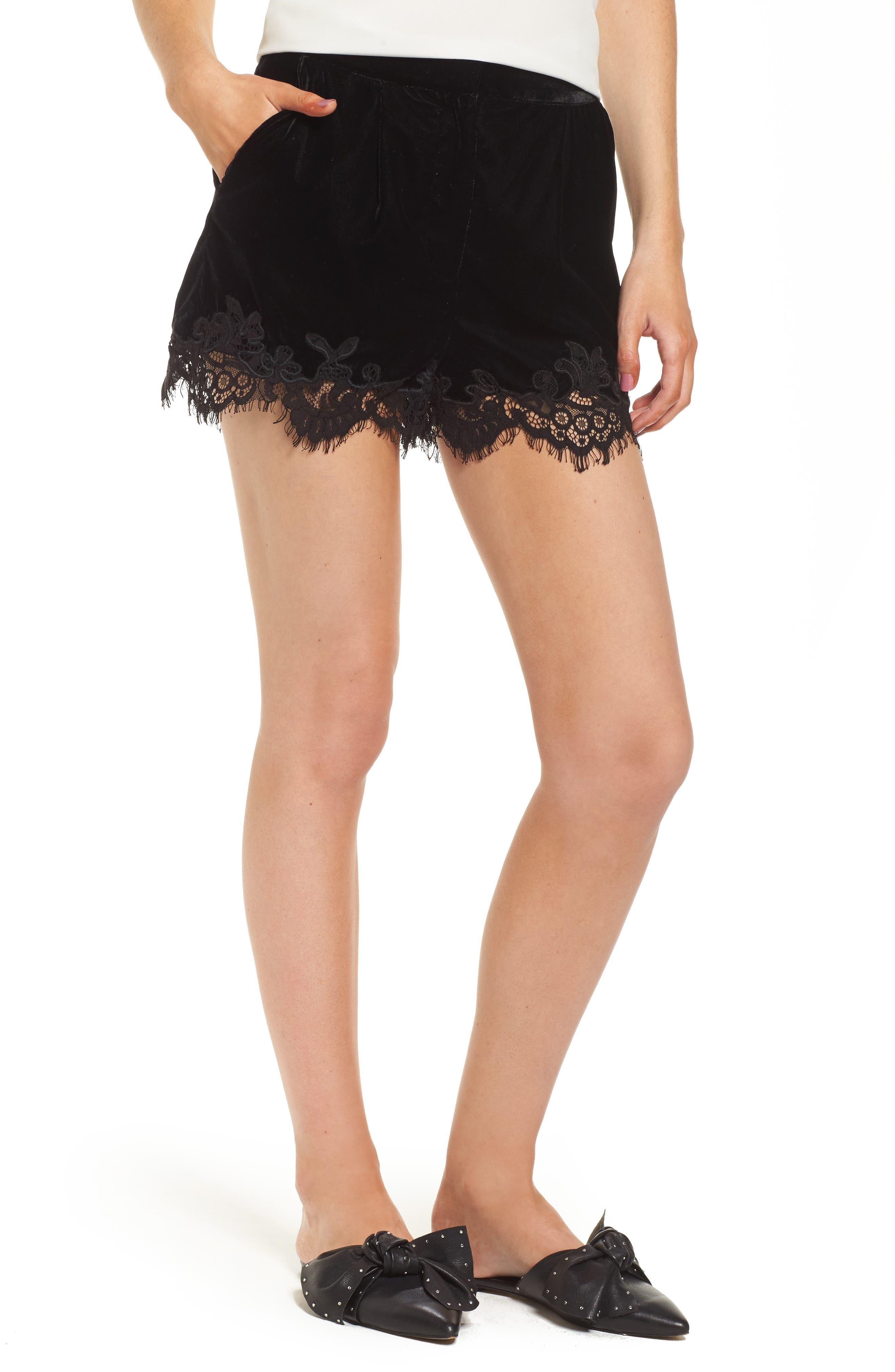Amelia Lace & Velvet Shorts,                             Main thumbnail 1, color,                             Black