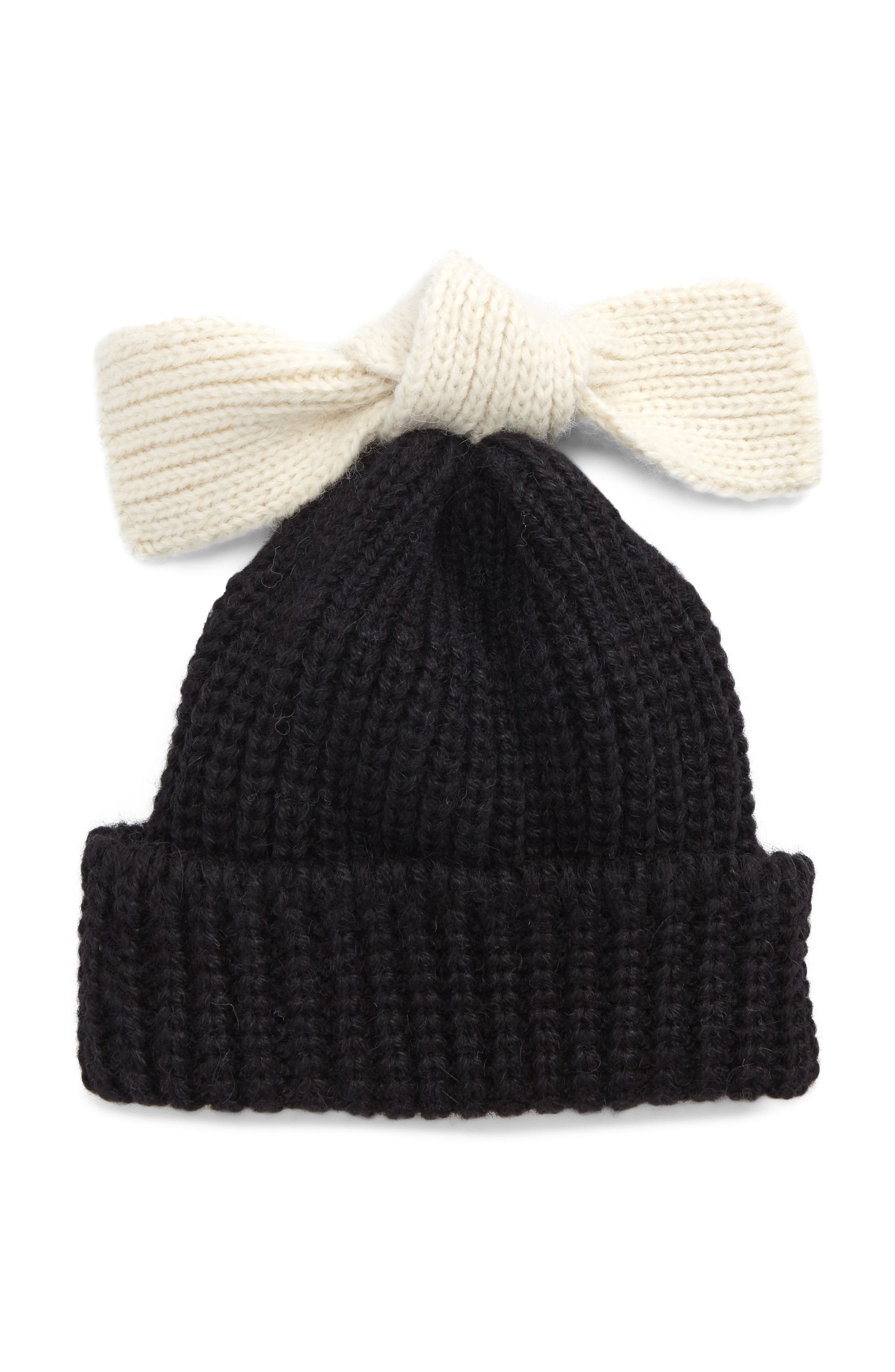 Bow Tie Beanie,                             Main thumbnail 1, color,                             Black White