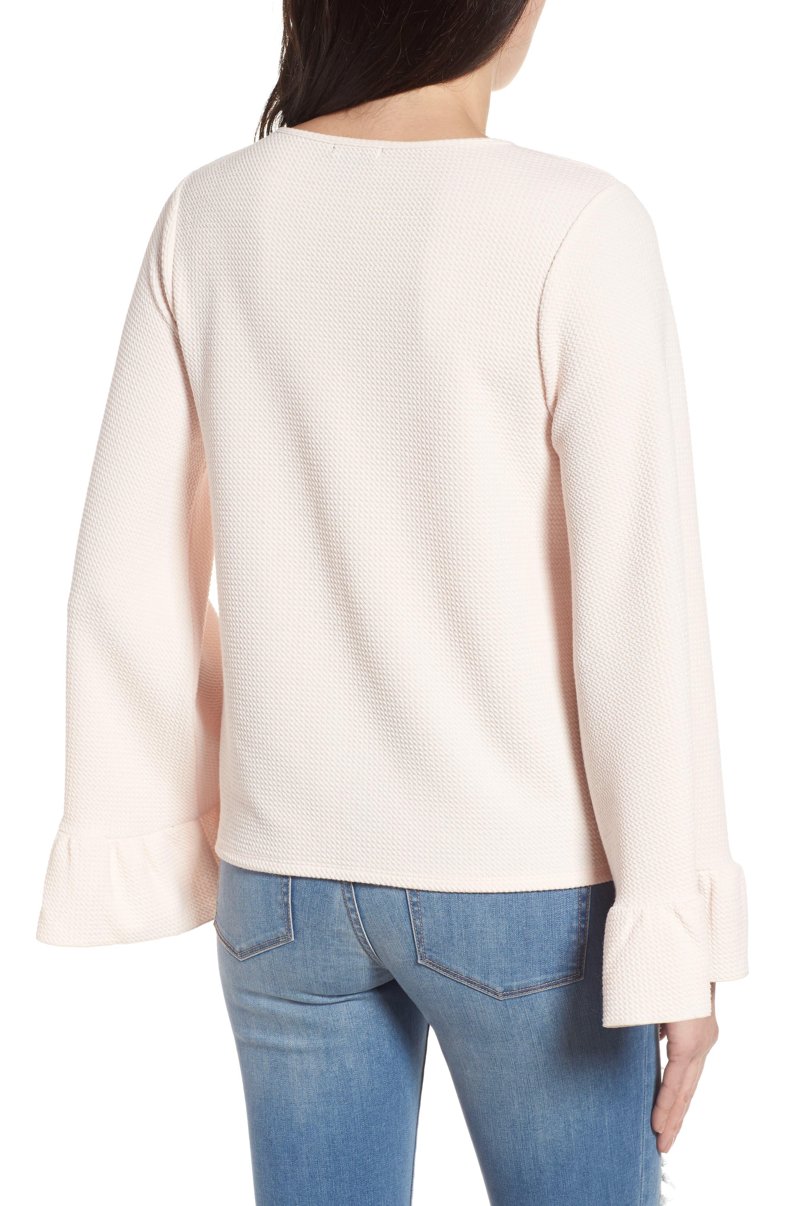 Alternate Image 2  - Halogen® Ruffle Cuff Knit Top (Regular & Petite)