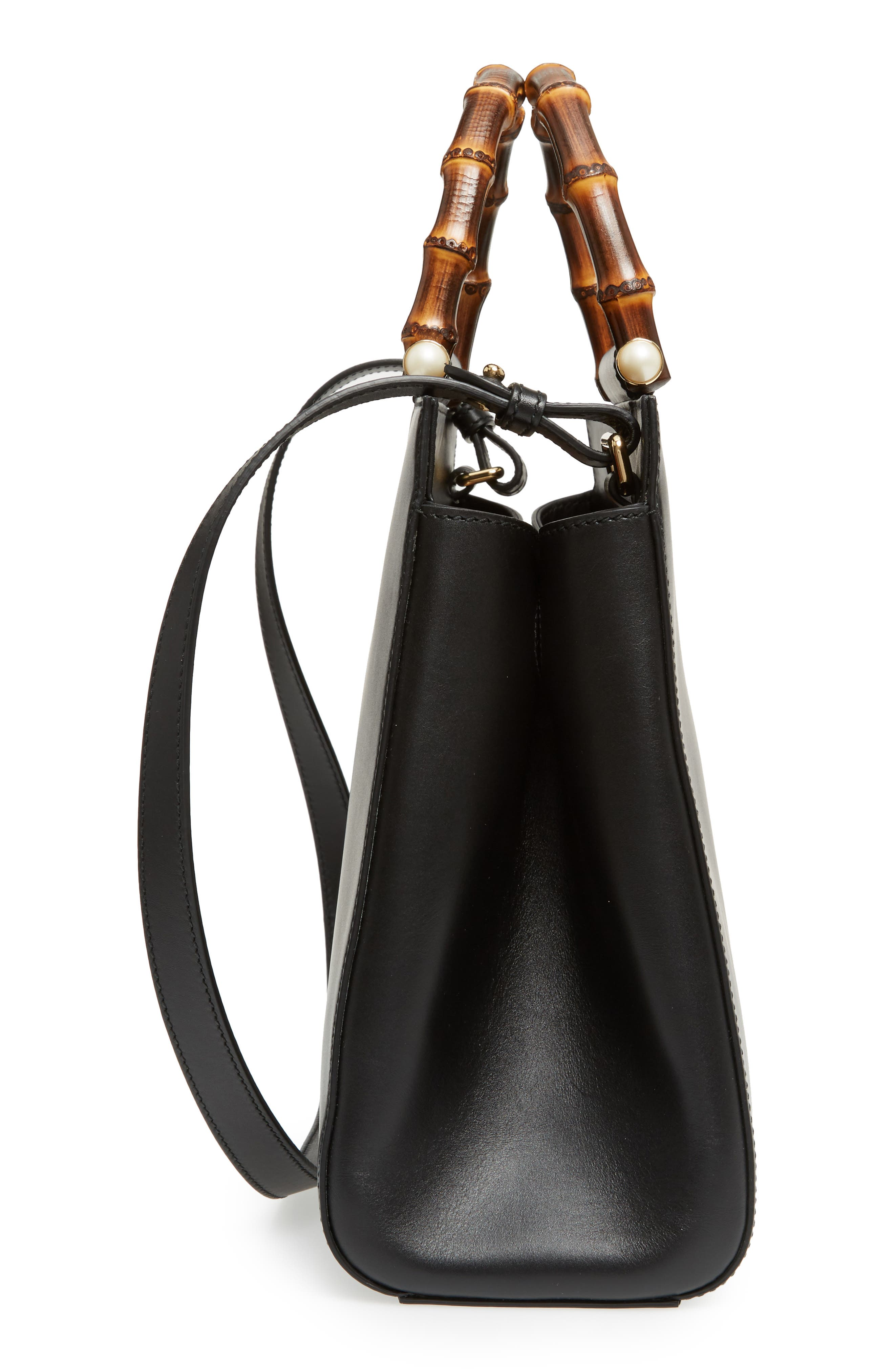 Medium Angel Leather Top Handle Satchel,                             Alternate thumbnail 5, color,                             Nero