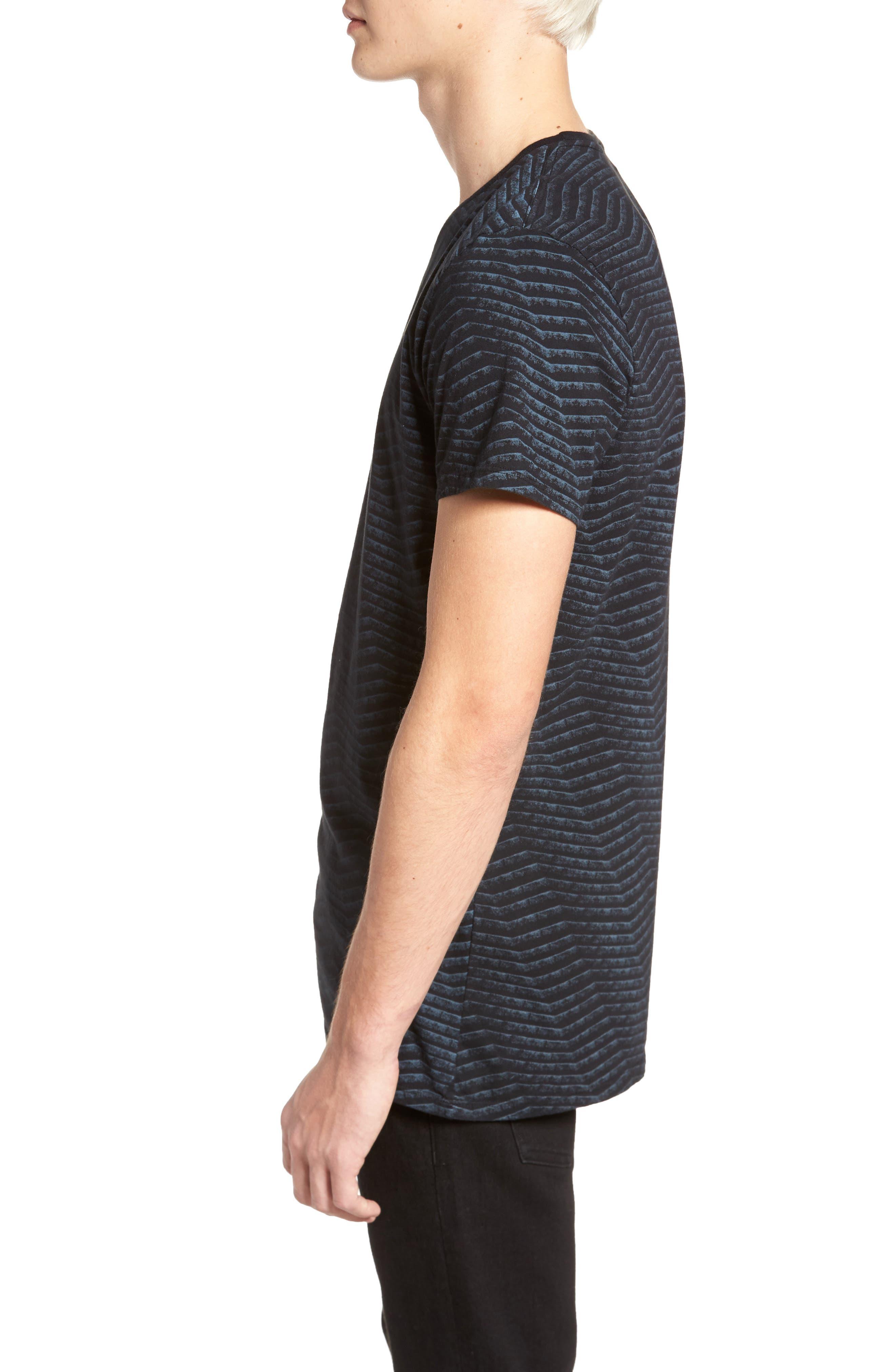 Chevron Stripe T-Shirt,                             Alternate thumbnail 3, color,                             Black