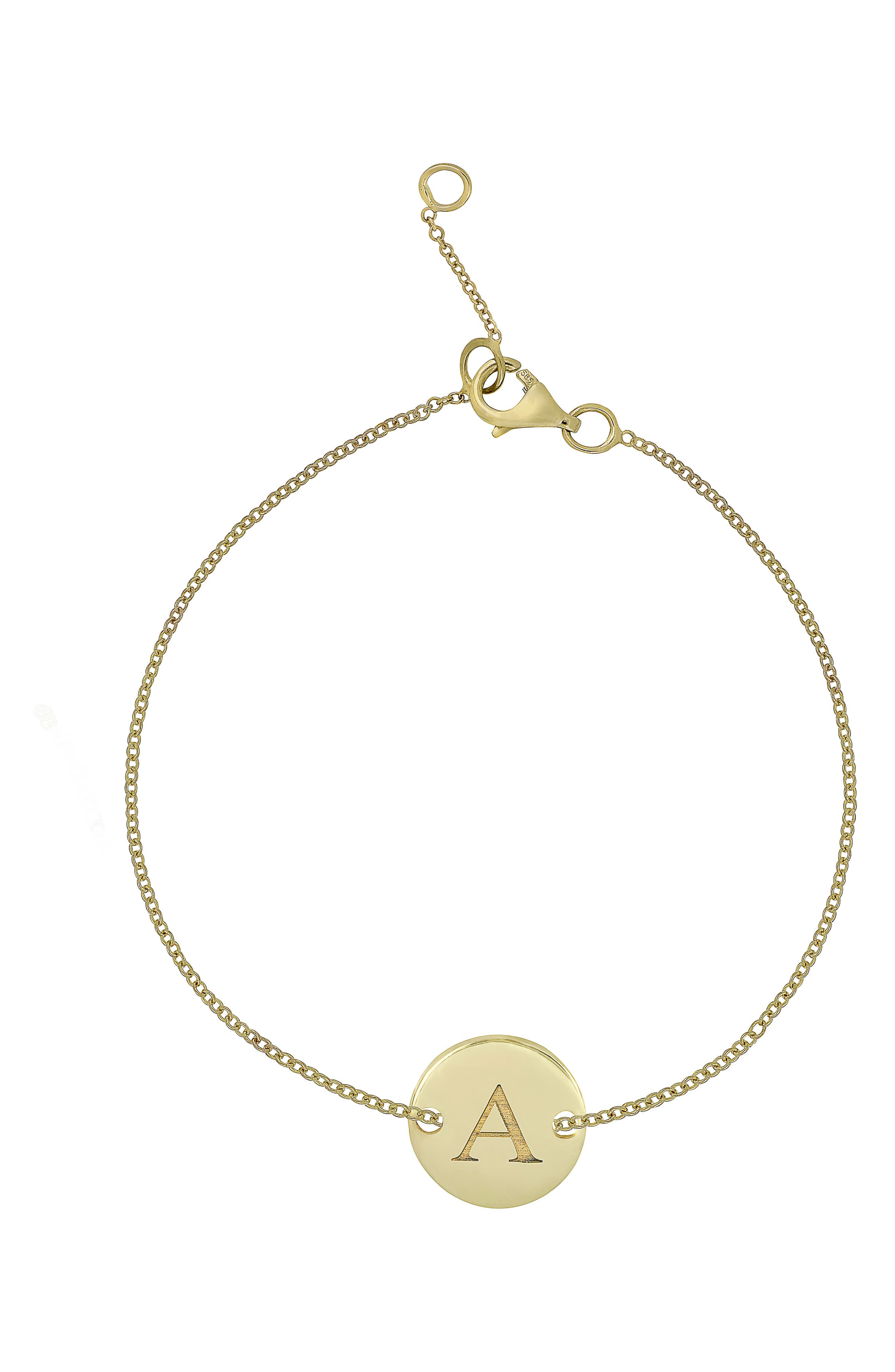 14k Gold Initial Bracelet,                             Main thumbnail 1, color,                             Yellow Gold- A