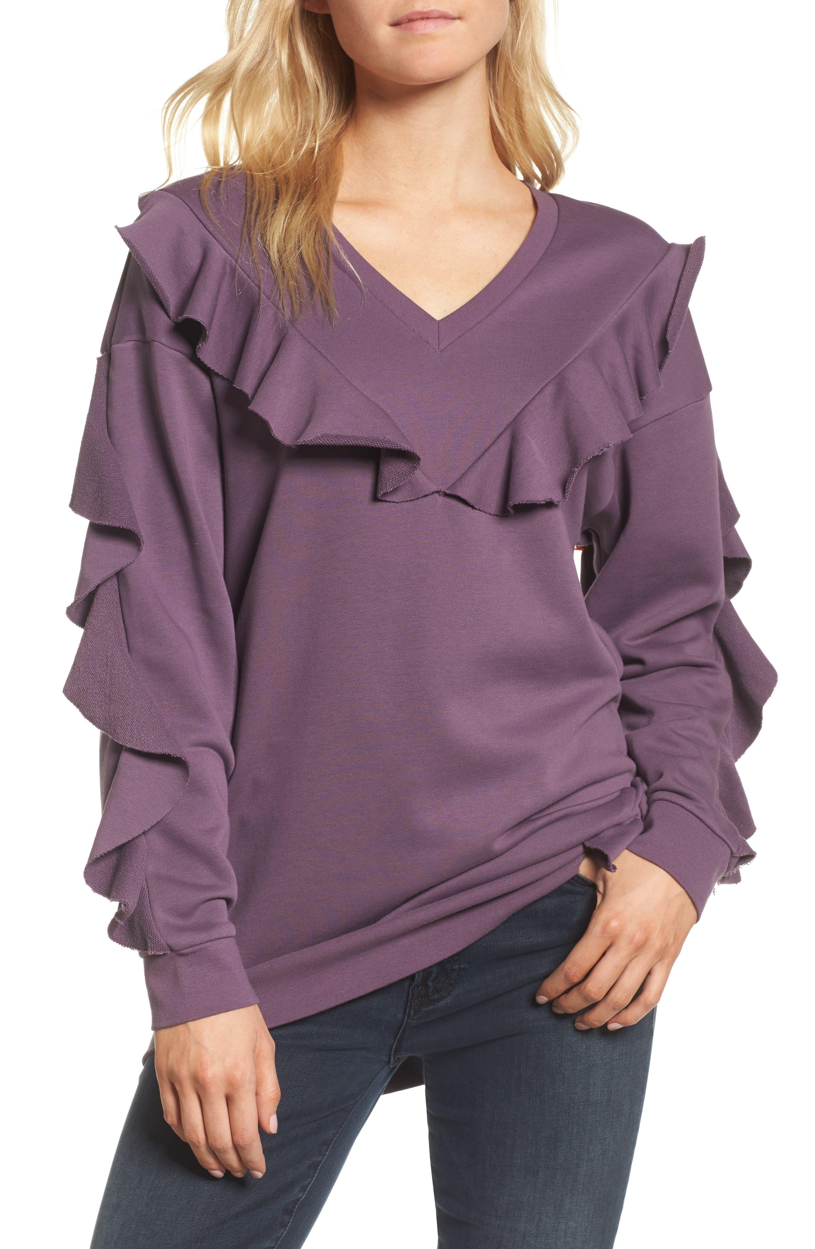 Alternate Image 1 Selected - Chelsea28 Ruffle Sweatshirt
