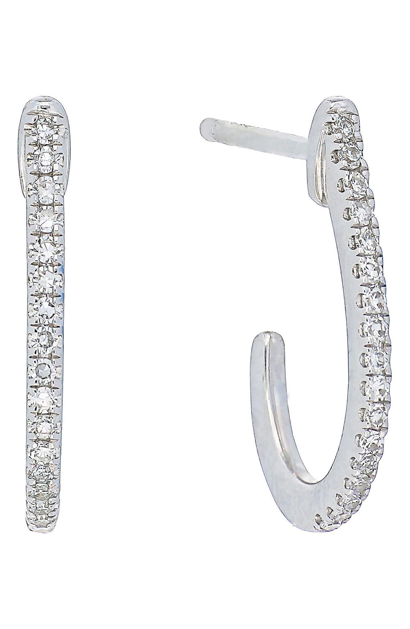 Carrière Diamond J-Shape Earrings,                         Main,                         color, Silver/ Diamond