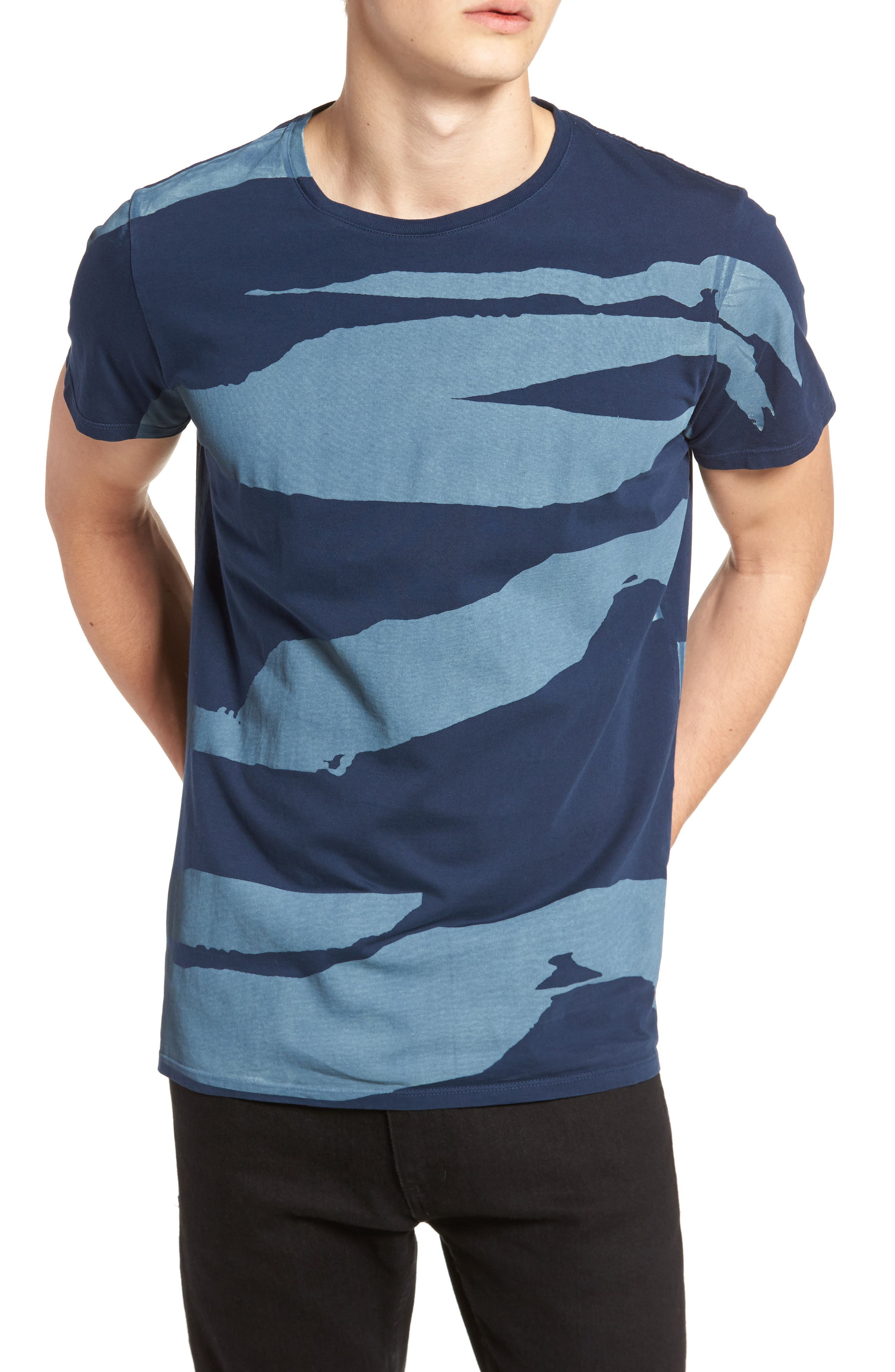 Torn Stripes T-Shirt,                         Main,                         color, Navy