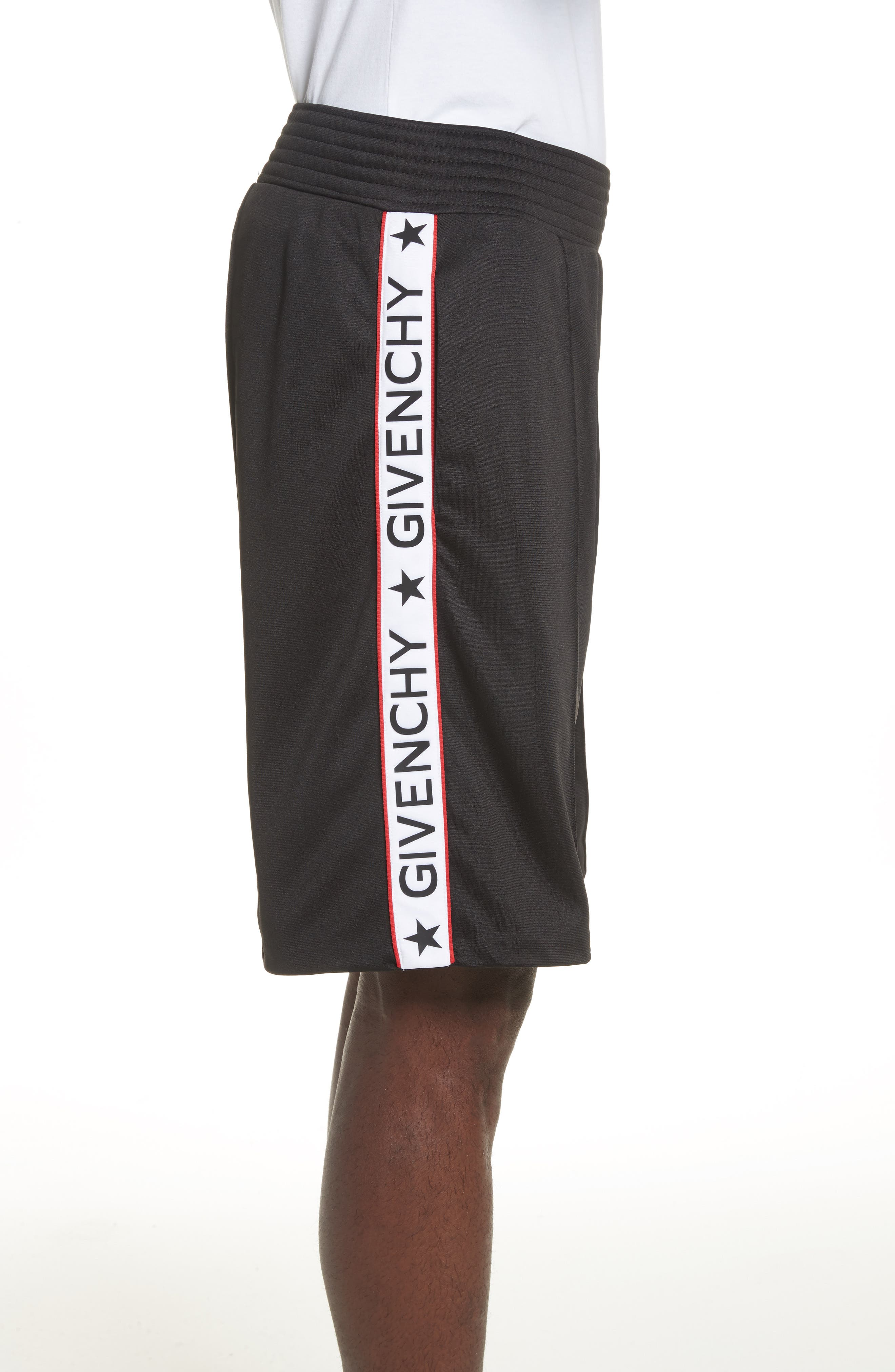 Side Stripe Logo Shorts,                             Alternate thumbnail 3, color,                             Black