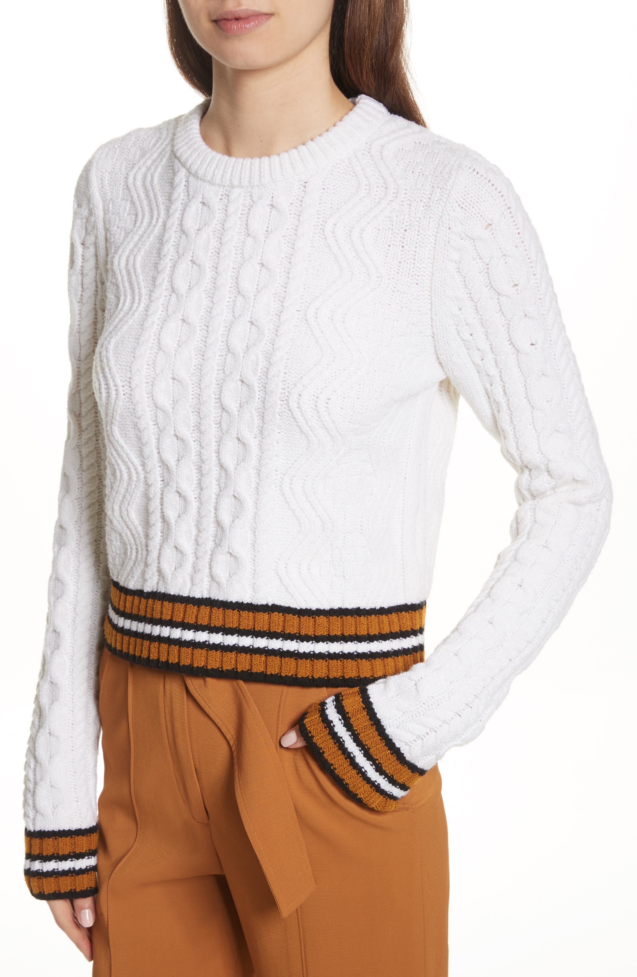 Alpha Cable Knit Sweater,                             Alternate thumbnail 4, color,                             White