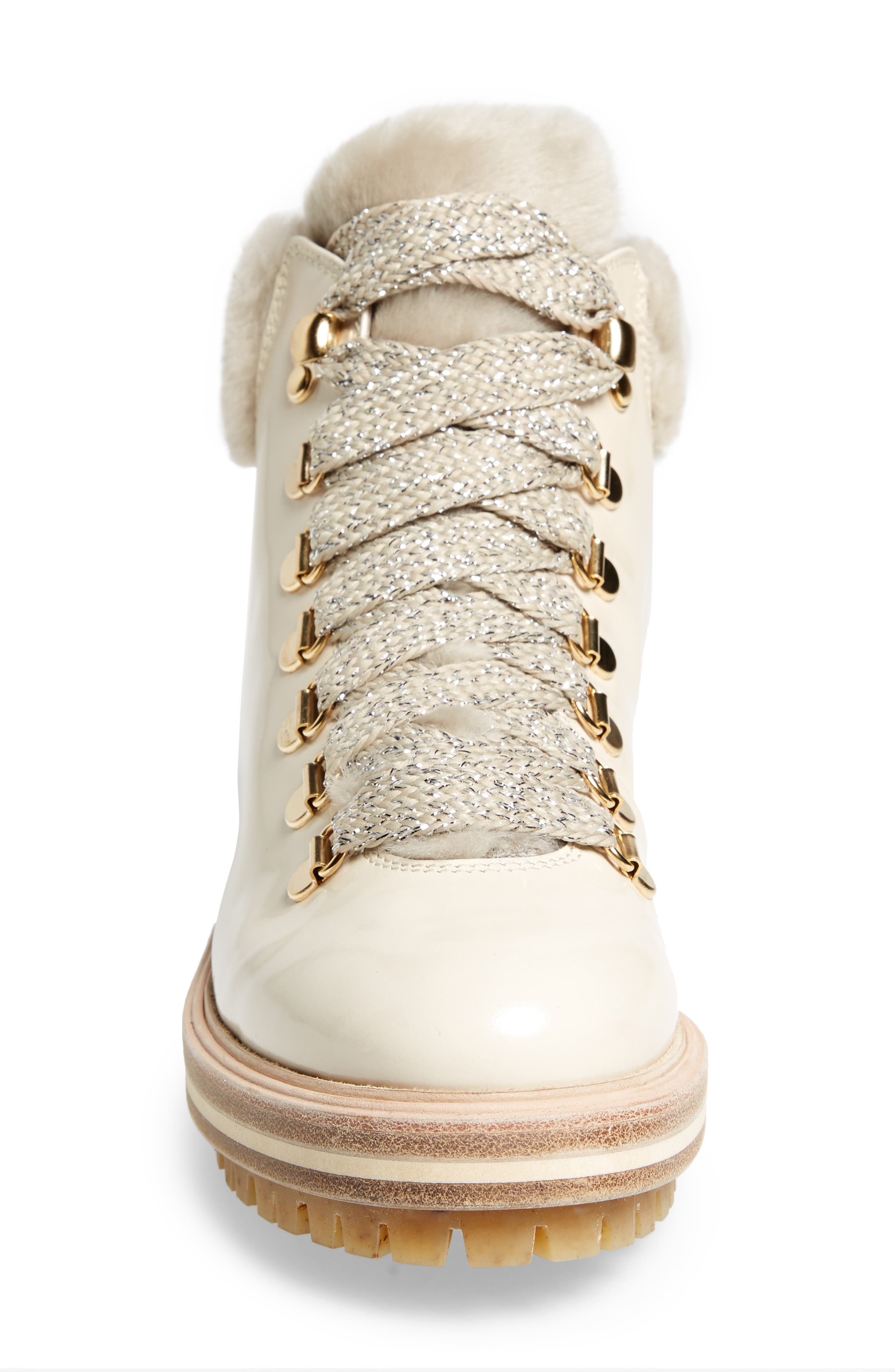 Genuine Shearling Cuff Hiker Boot,                             Alternate thumbnail 4, color,                             Marble Taupe Leather